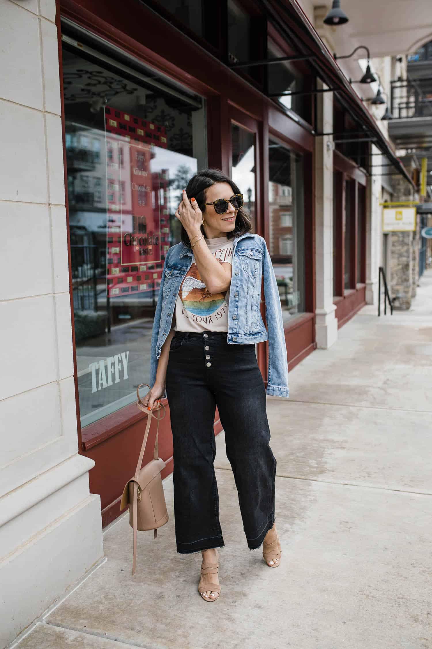 graphic tee, denim jacket, wide leg crop jeans