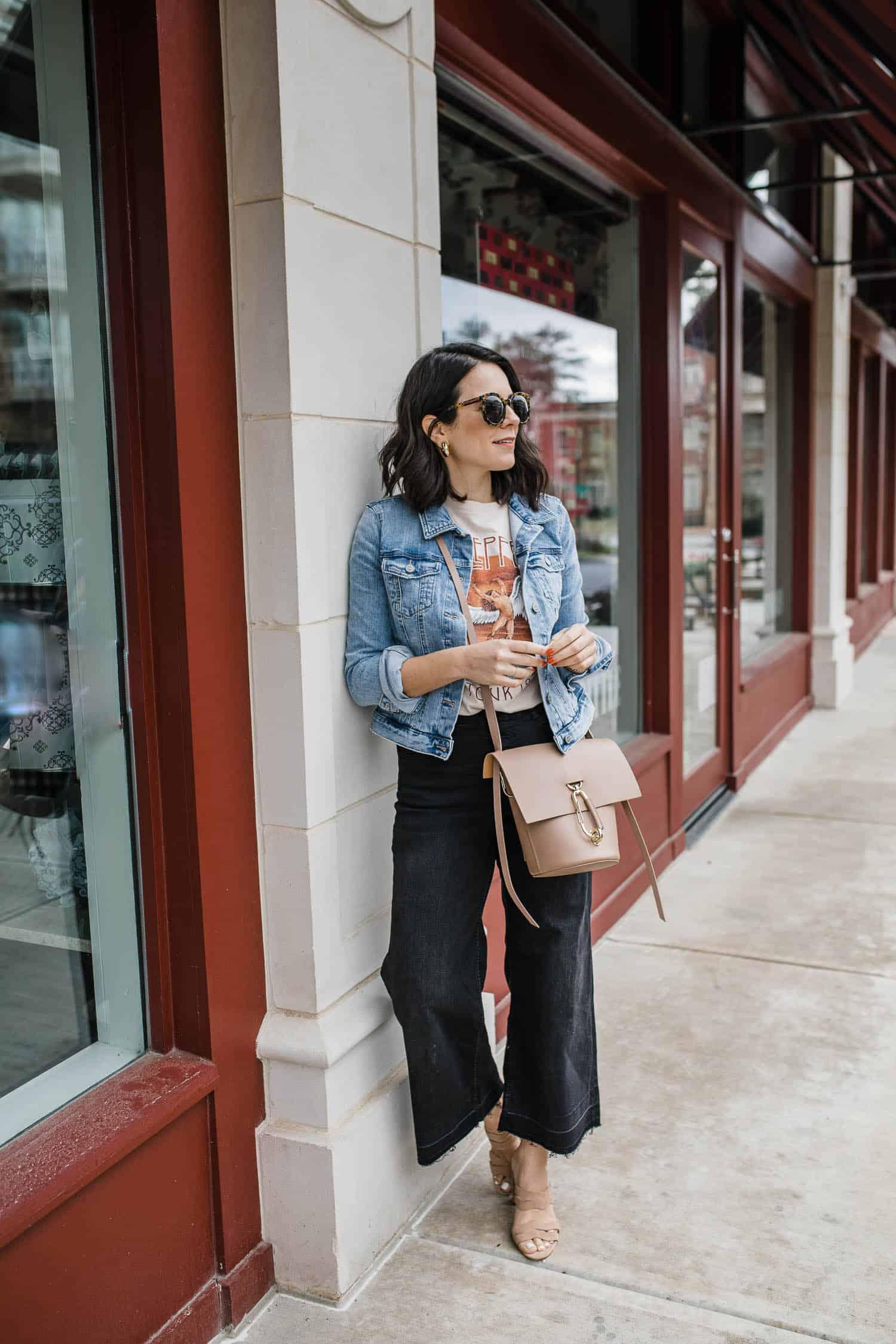 LOFT denim jacket, H&M black wide leg crop jeans
