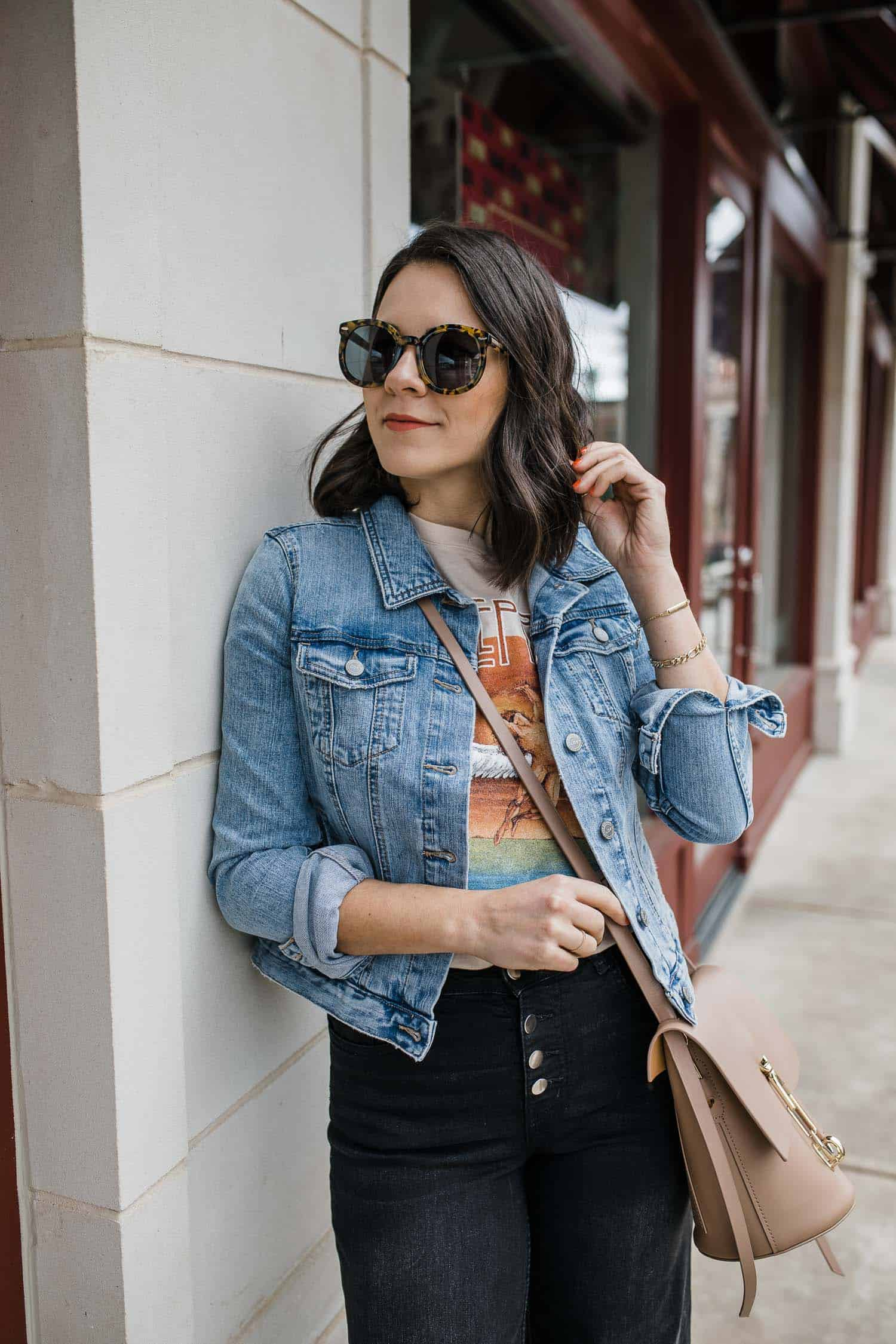 graphic tee with a denim jacket