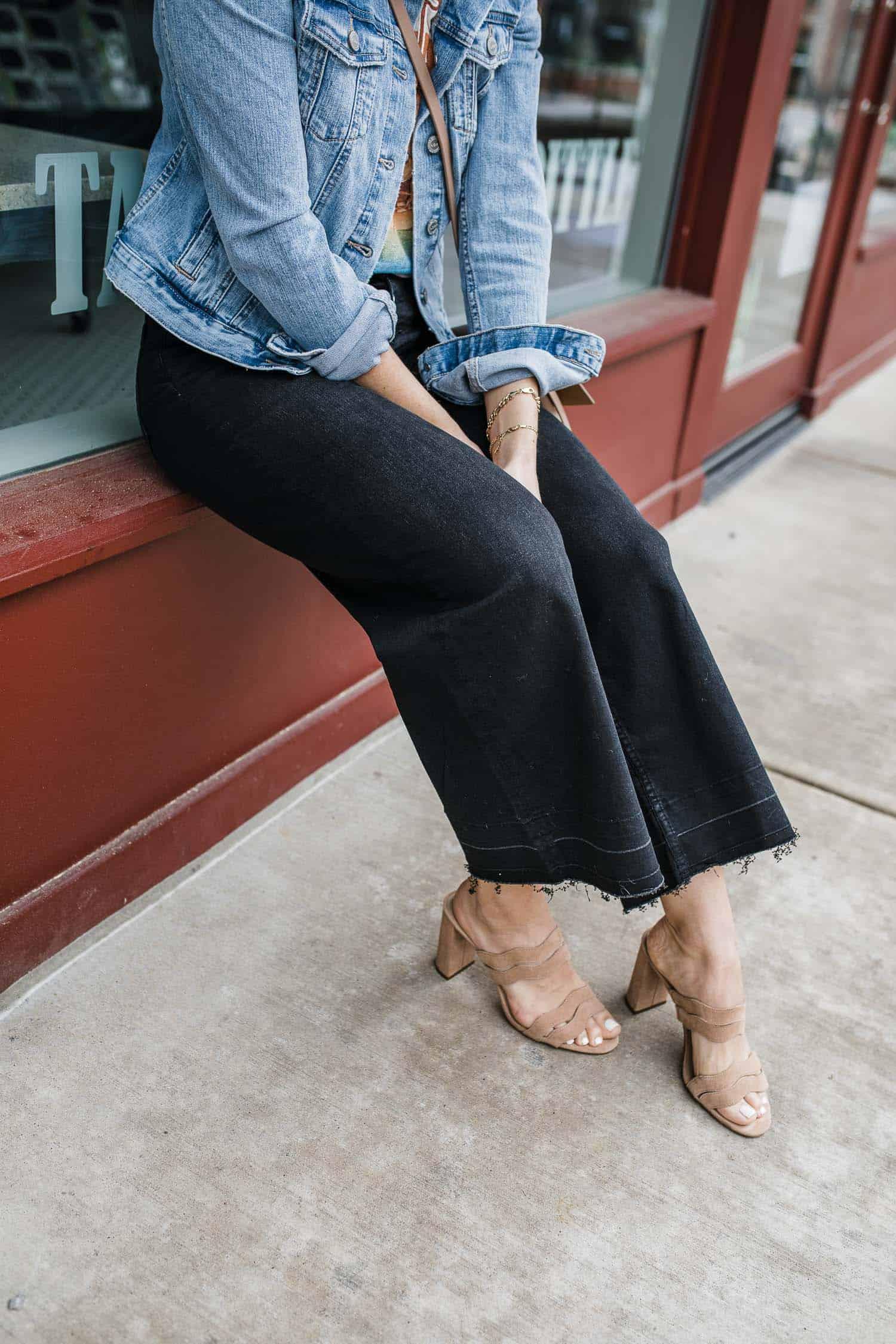 black wide leg crop jeans