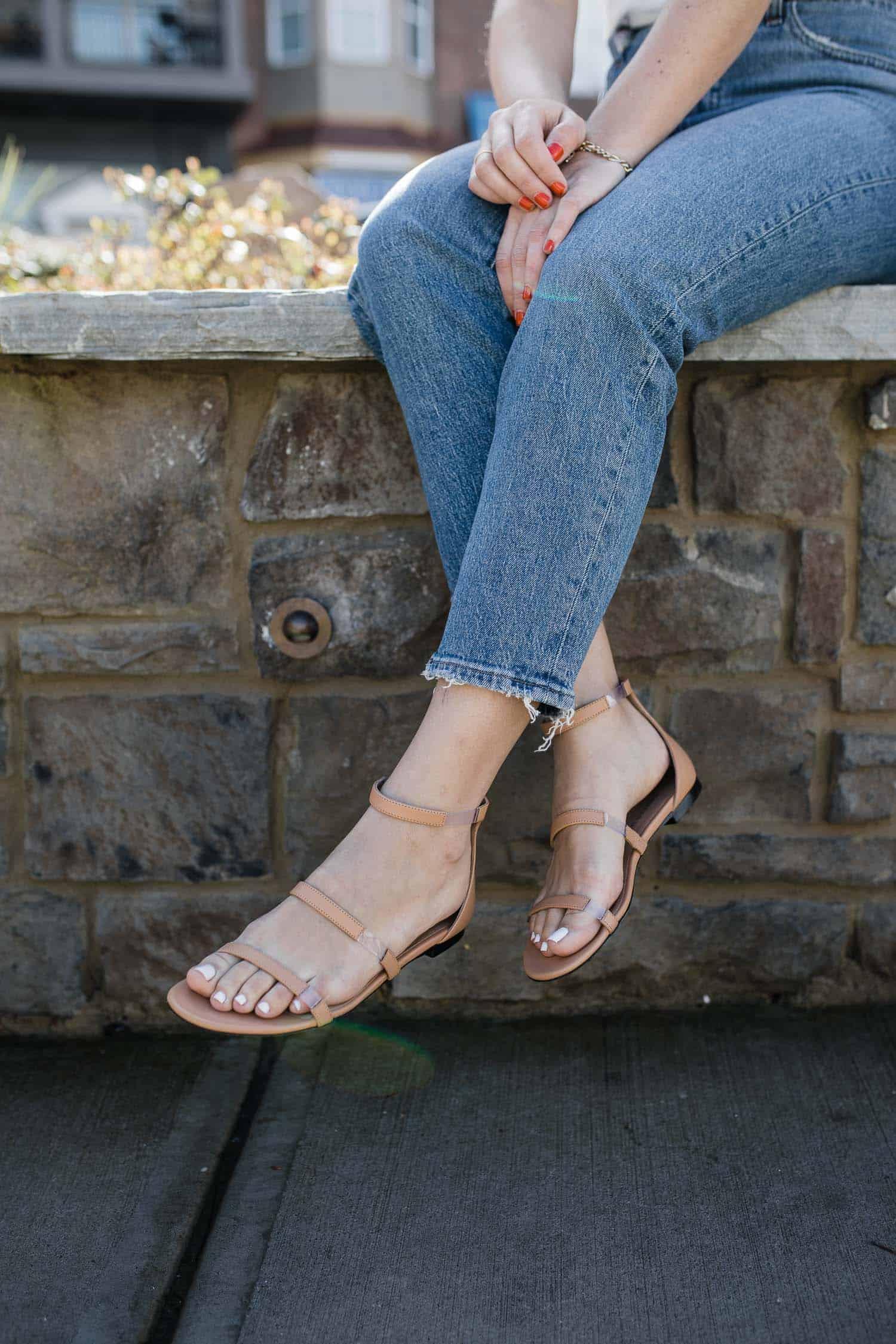 Tamara Mellon Frontline Nude Sandals