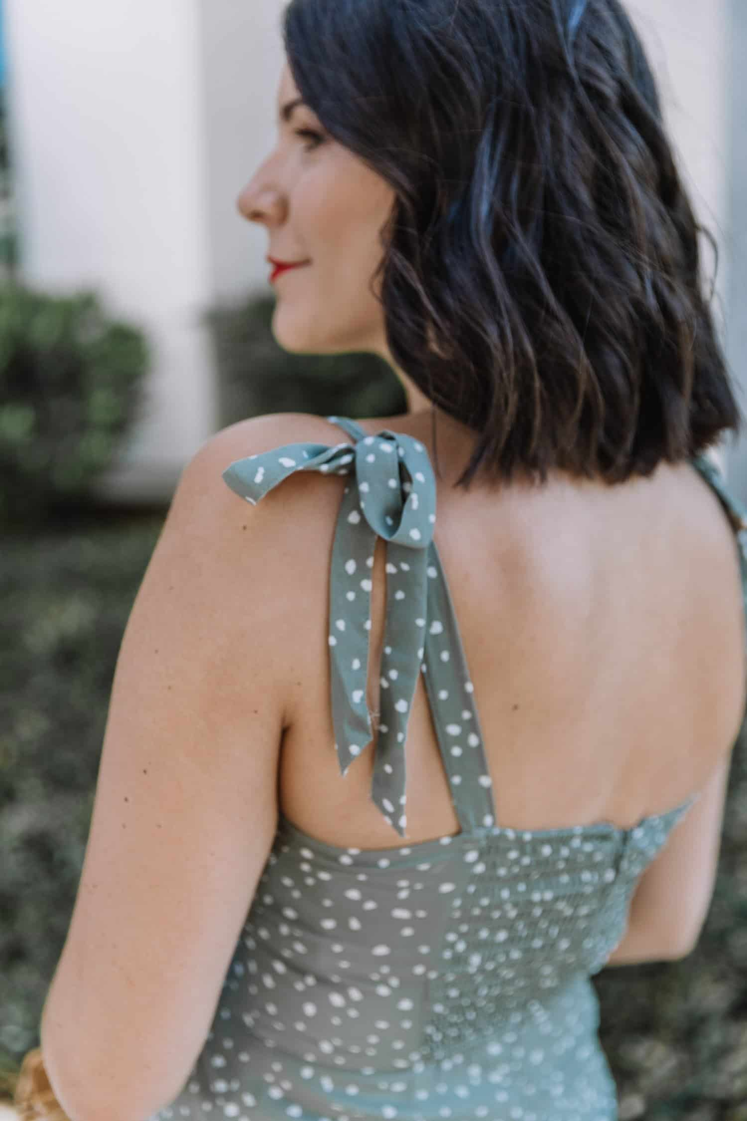 bow details on midi dress straps