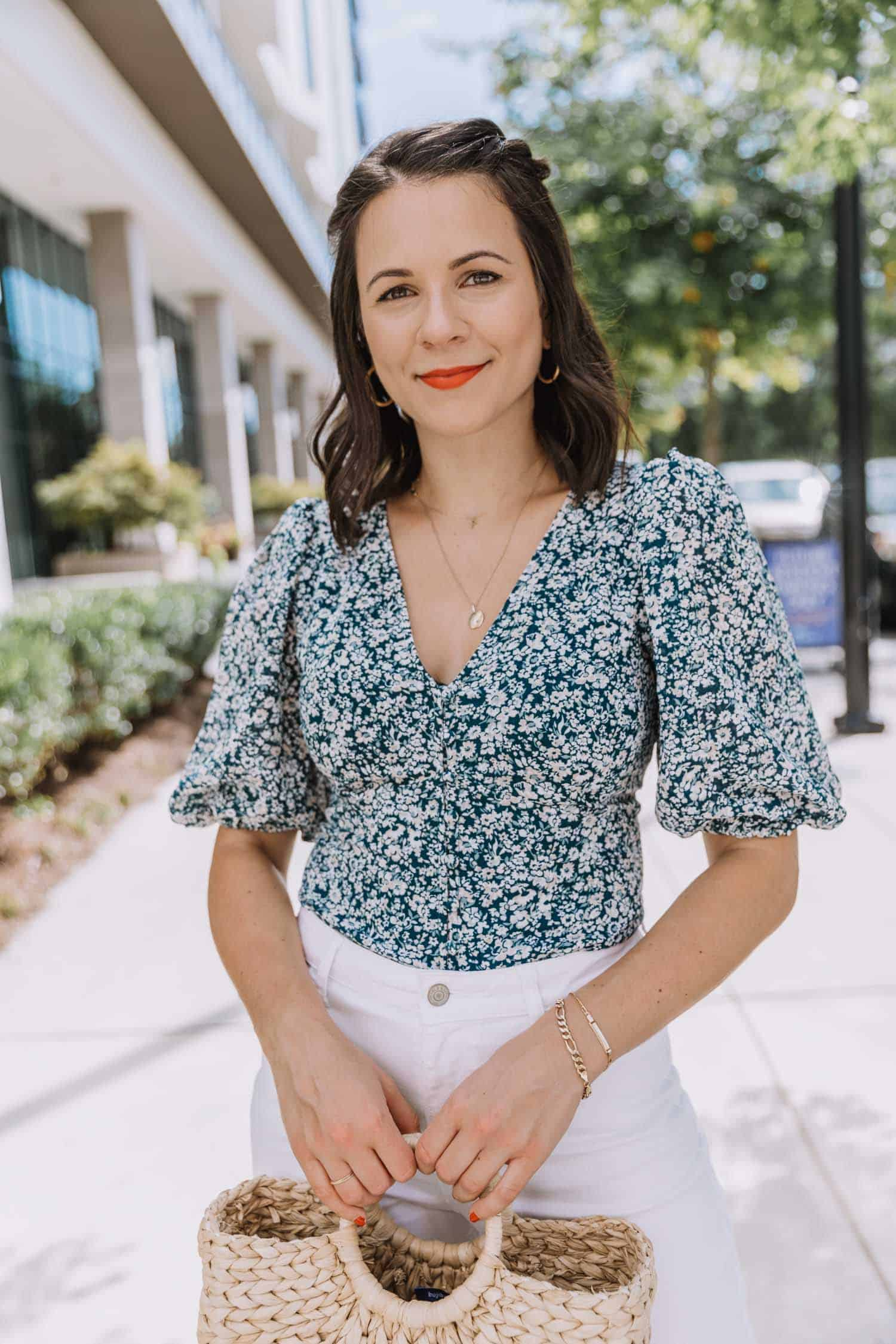Jessica Camerata styles a blue floral puff sleeve blouse