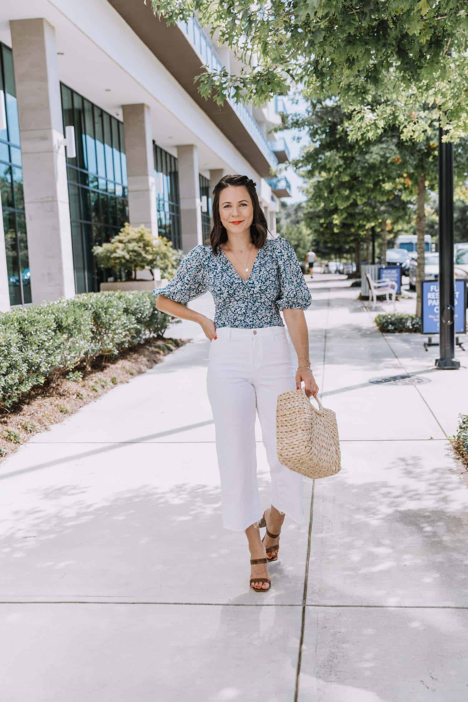 Abercombie & Fitch Top, White Crop Pants, Straw Bag