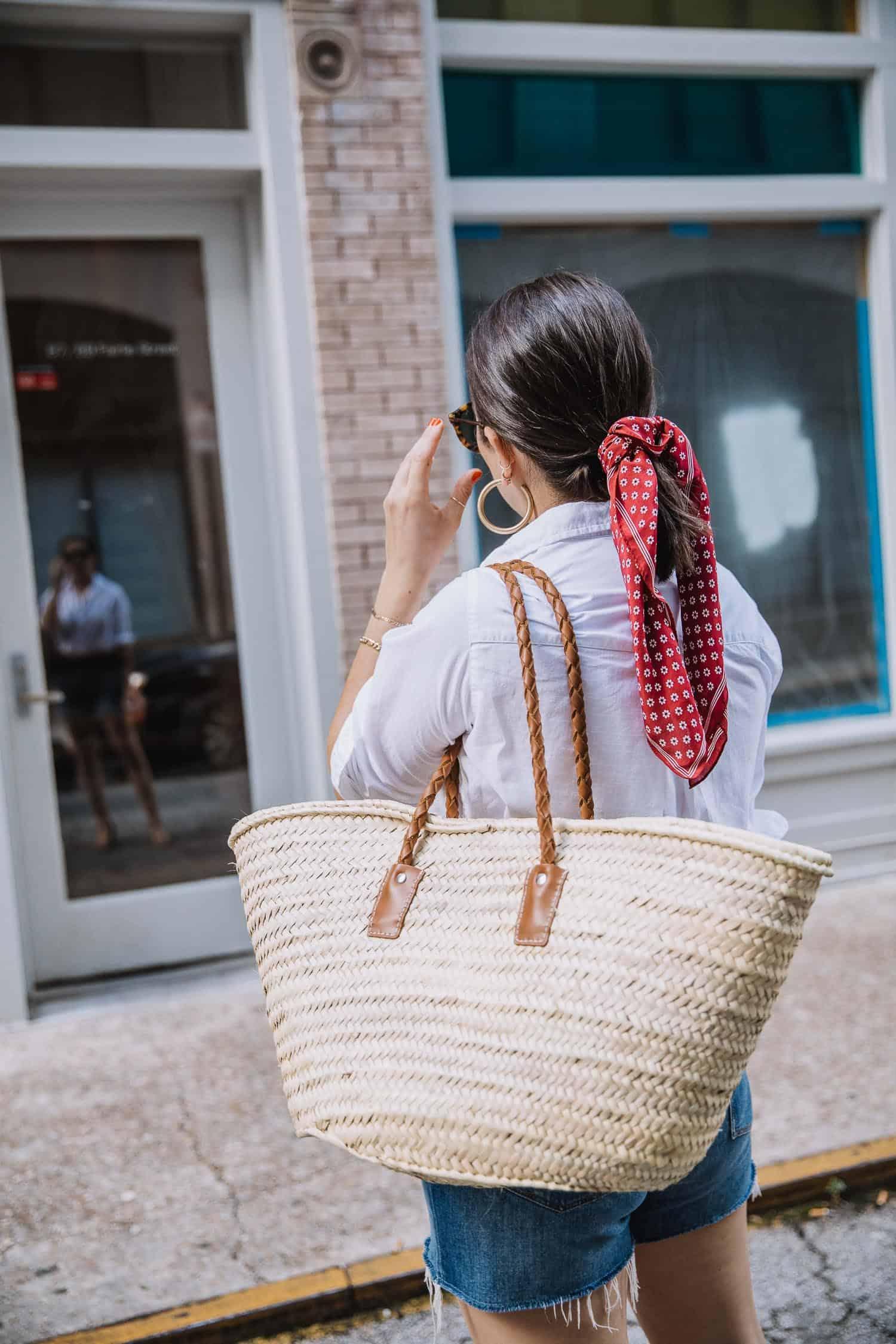 jute tote bag and bandana in ponytail