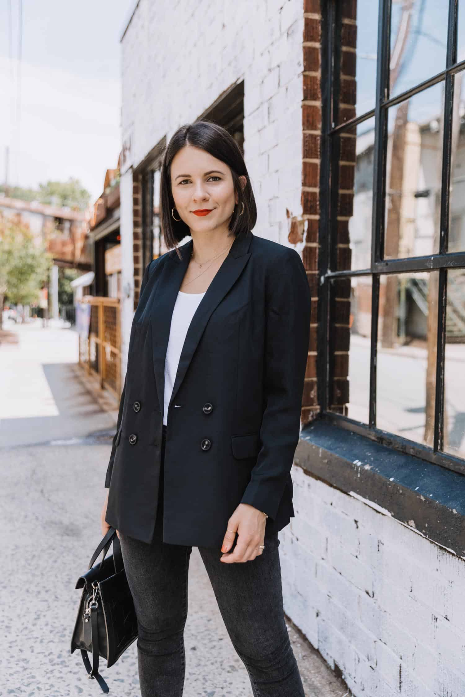 Jessica Camerata styles a boyfriend blazer with jeans