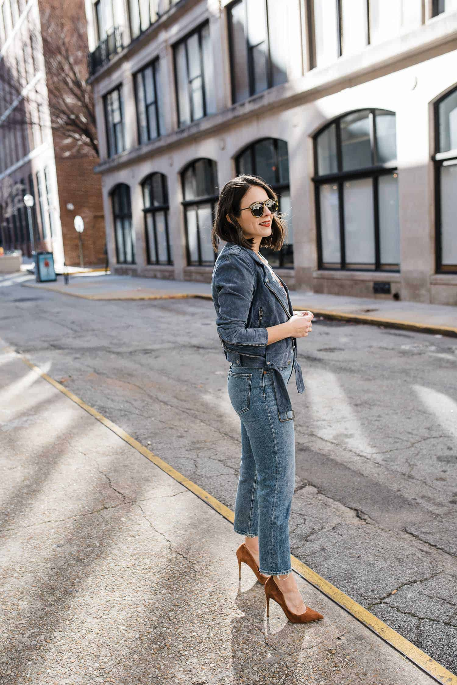 How to style a blue suede jacket for fall or spring