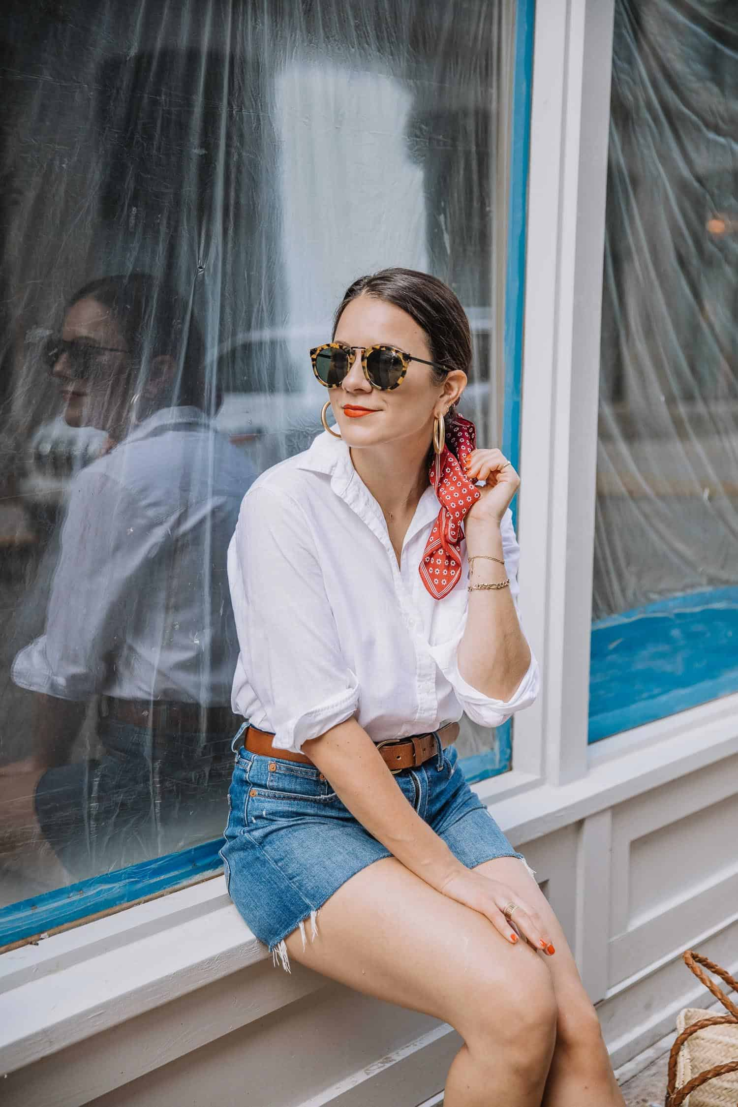 White Button-Up With Denim Shorts