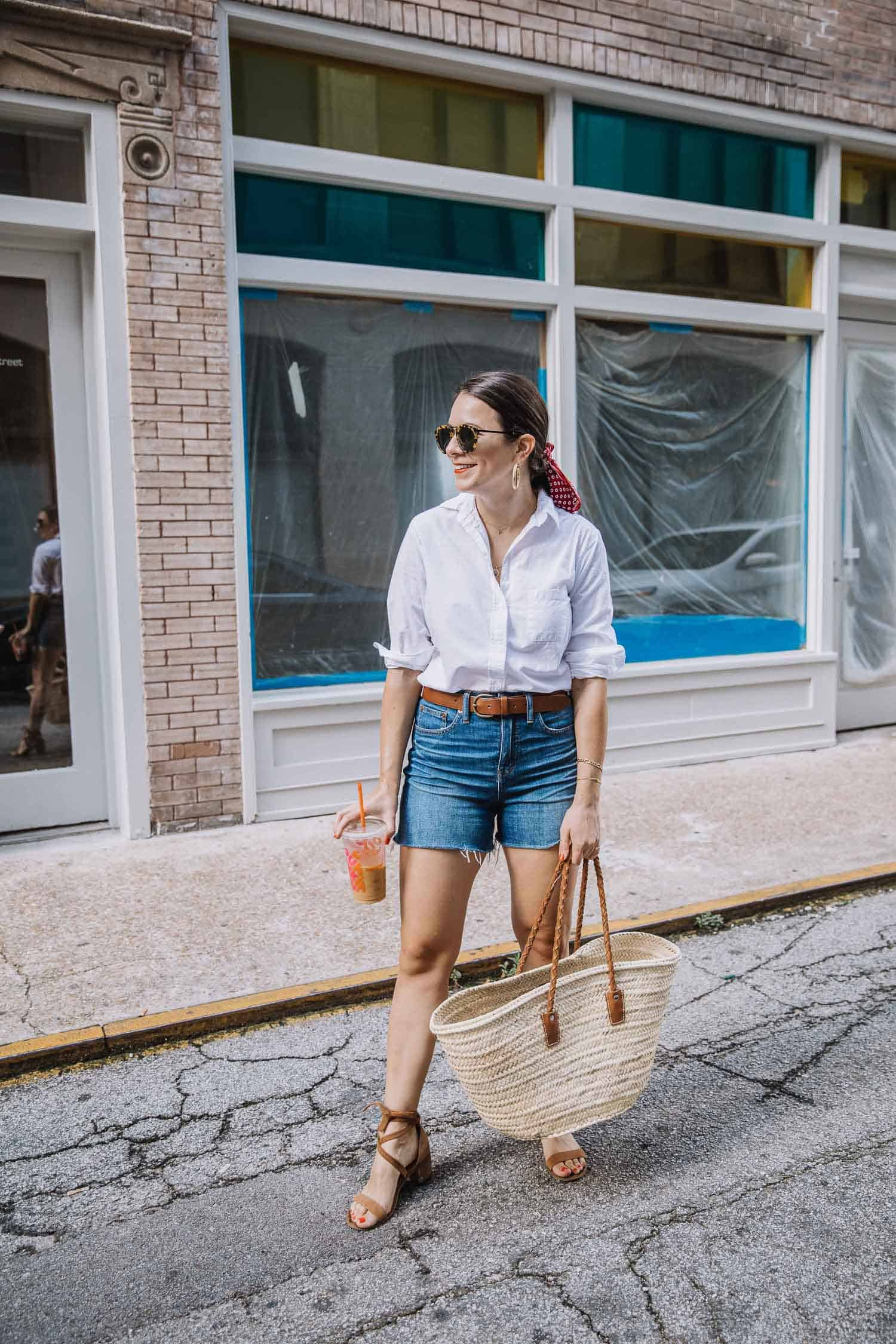 Classic White Button-Up With Denim Shorts