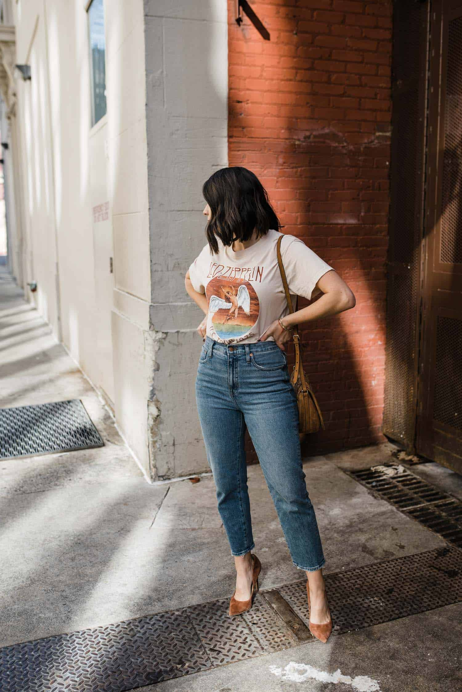 Madewell mom jeans and a concert graphic tee for fall