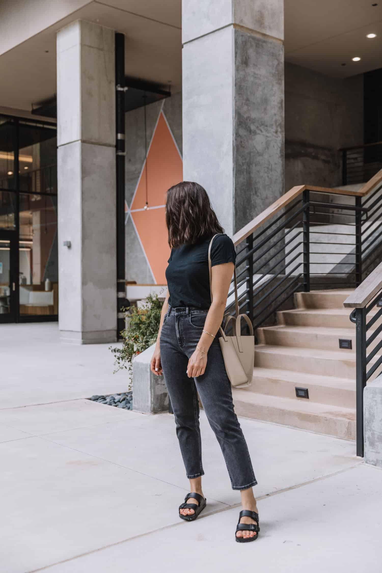 Jessica Camerata styles the Birkenstock EVA Arizona sandal with black jeans