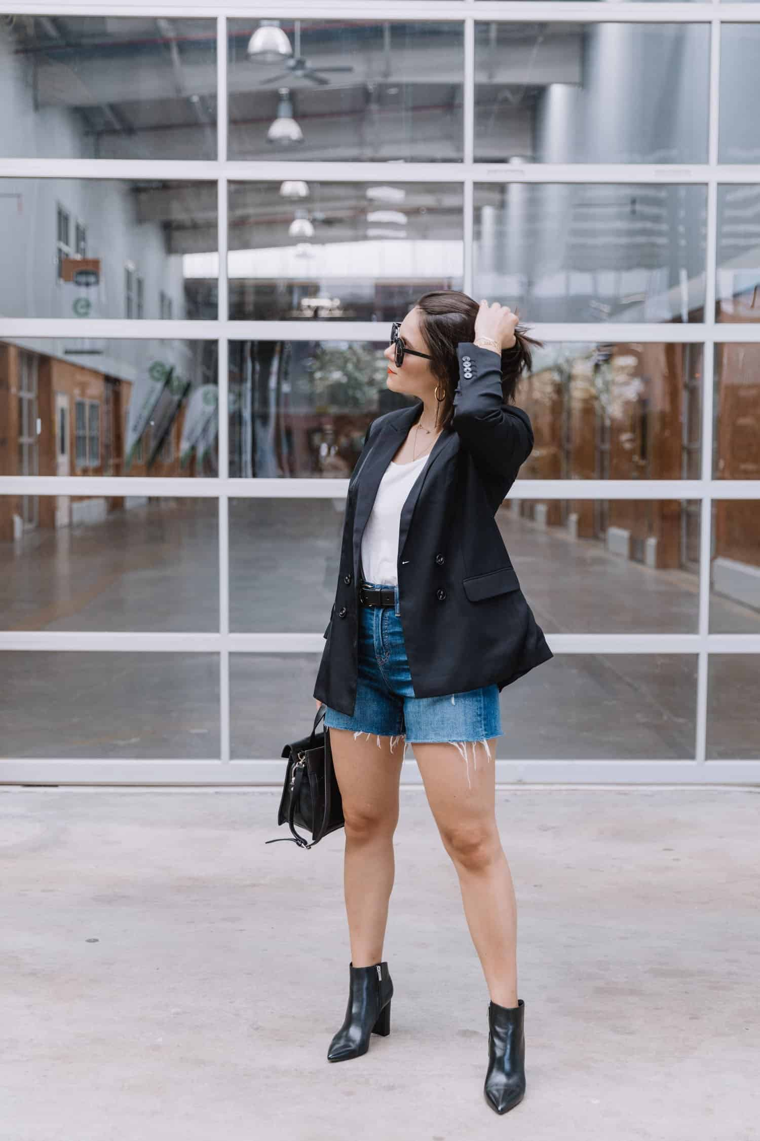 black blazer and shorts for summer