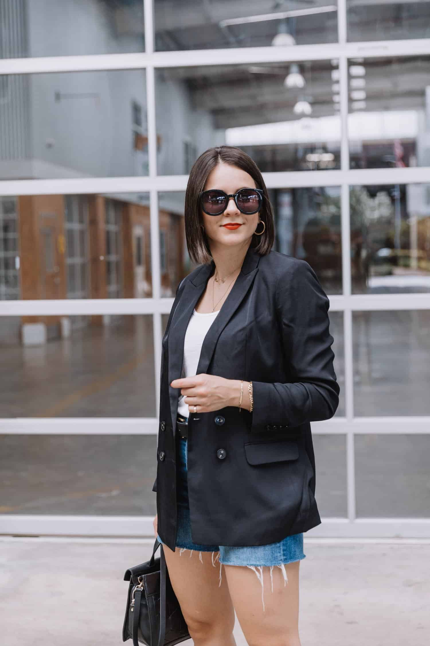 boyfriend blazer with shorts for a fall transition outfit
