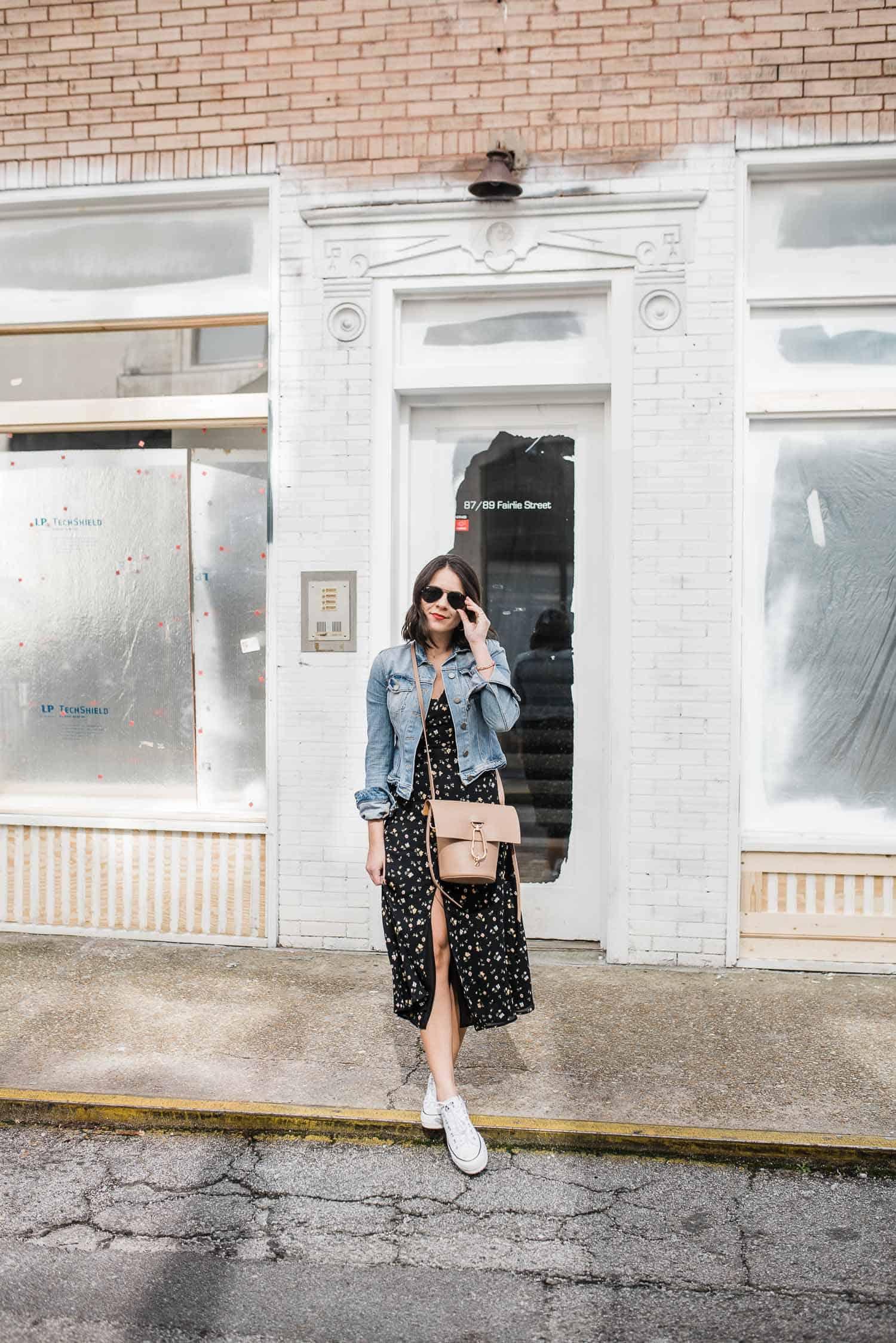 floral dress and denim jacket for summer