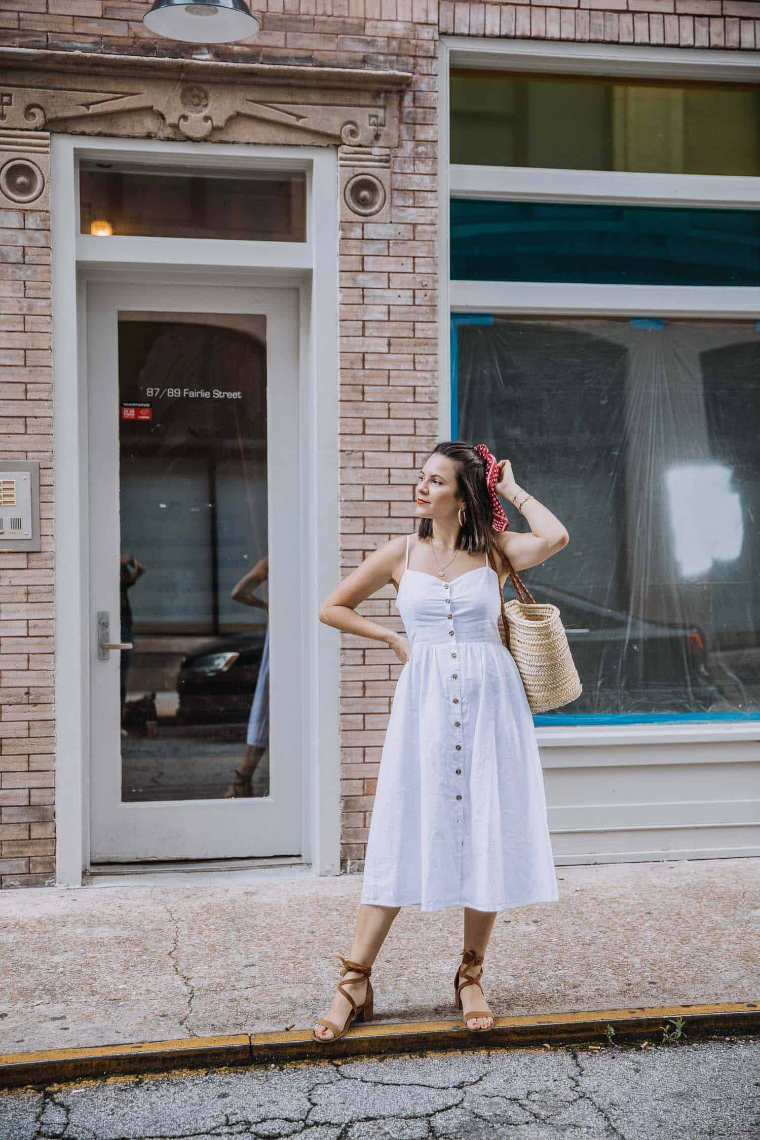 white button front midi dress for summer
