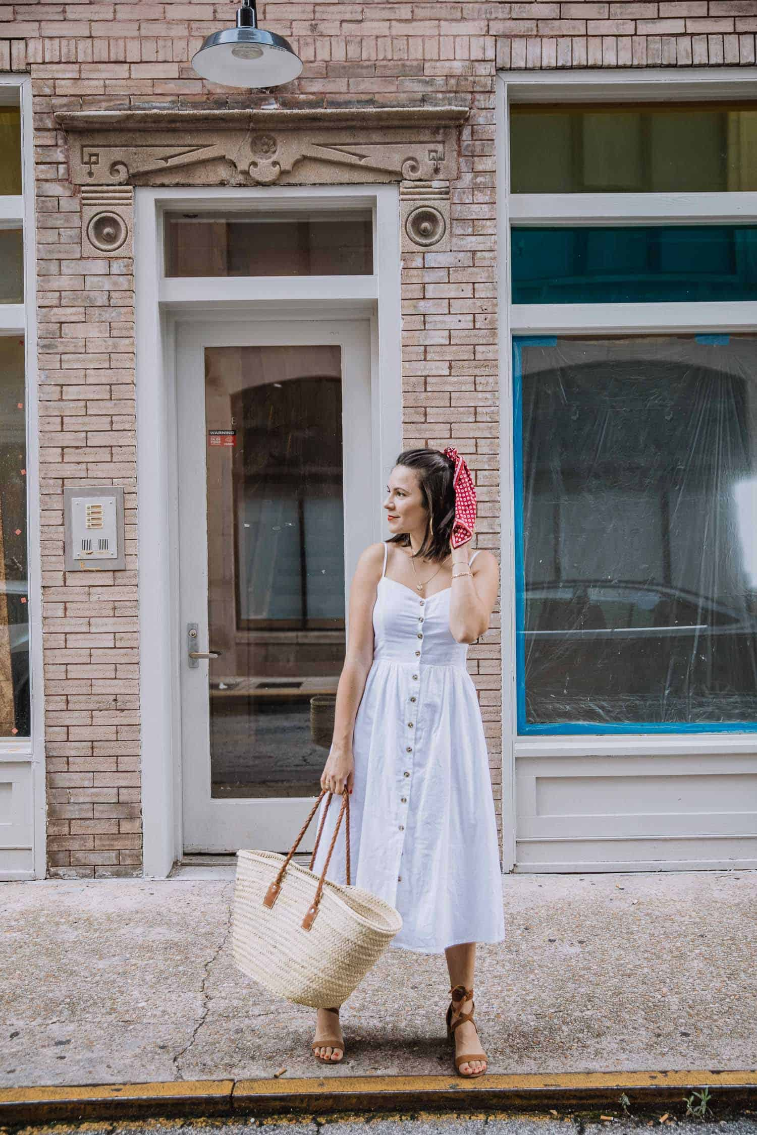 white button front summer dress