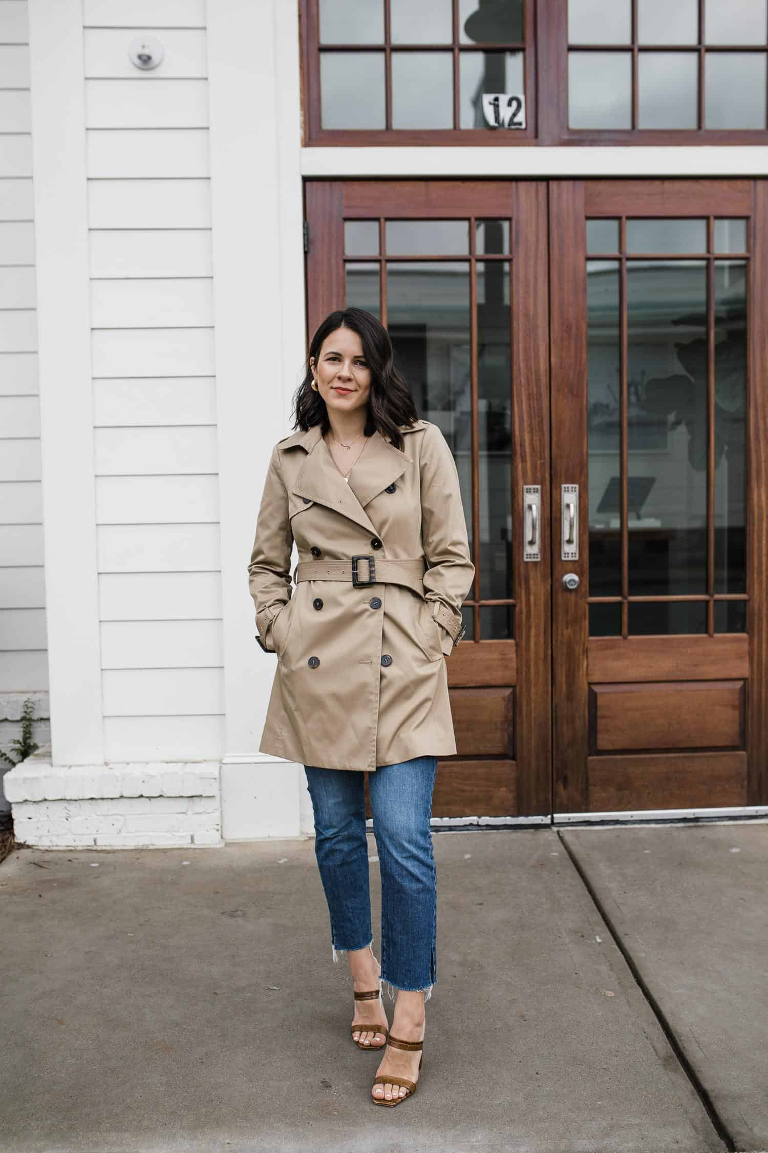 The Best Trench Coats Under $200 | Jessica Camerata styles a trench coat with jeans for fall