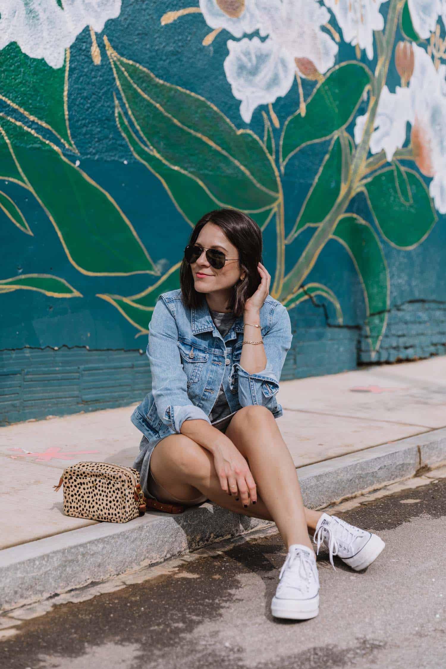 jessica camerata styles a t-shirt dress and denim jacket