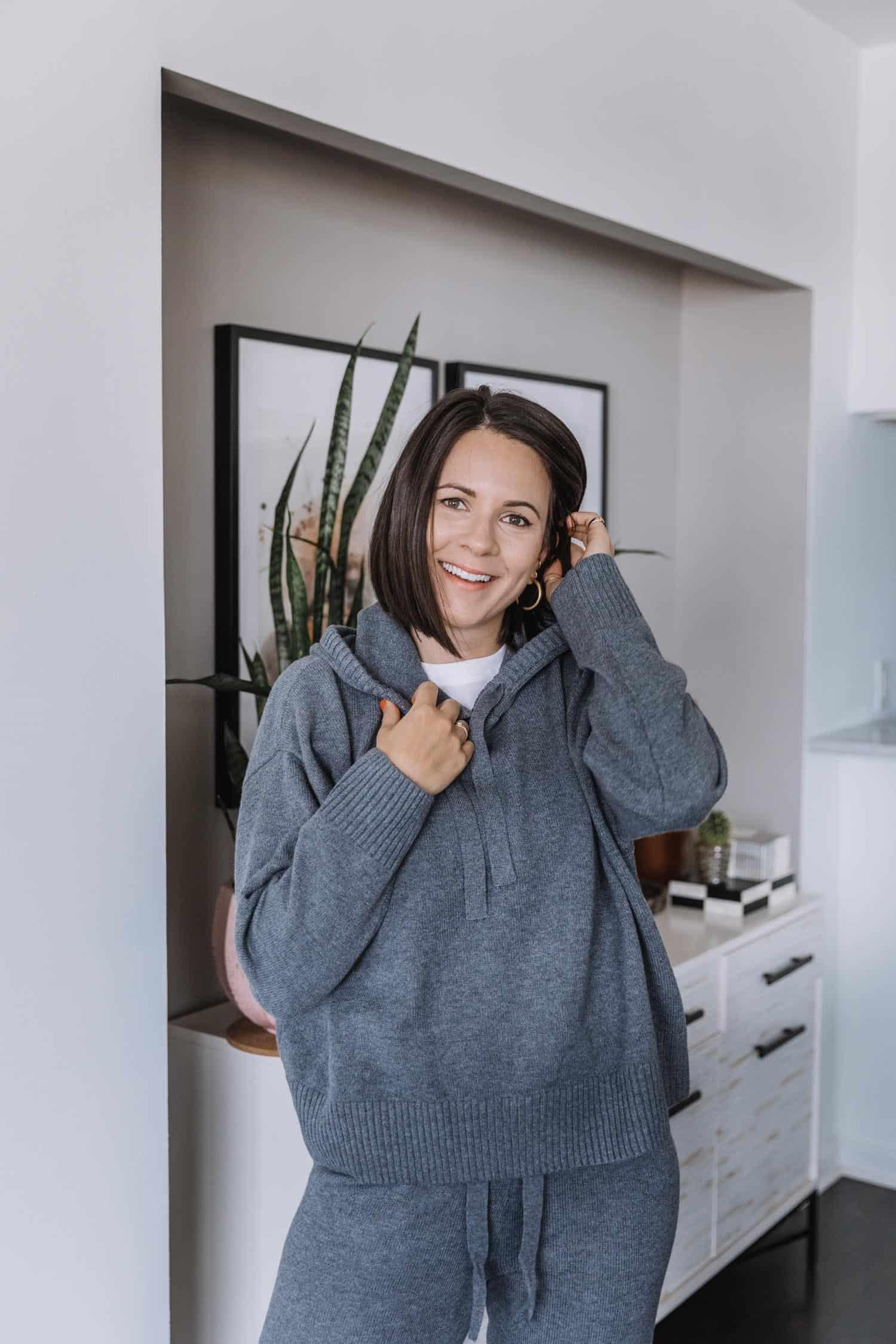Jessica Camerata styles a grey sweatshirt hoodie