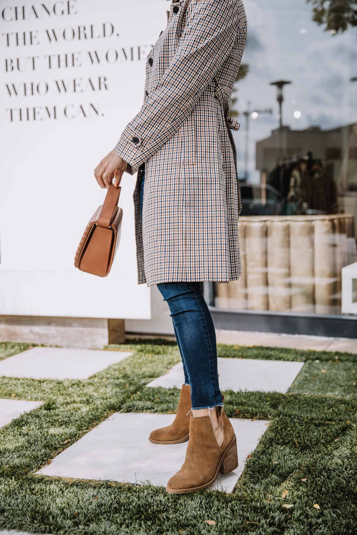 fall booties with jeans and plaid trench