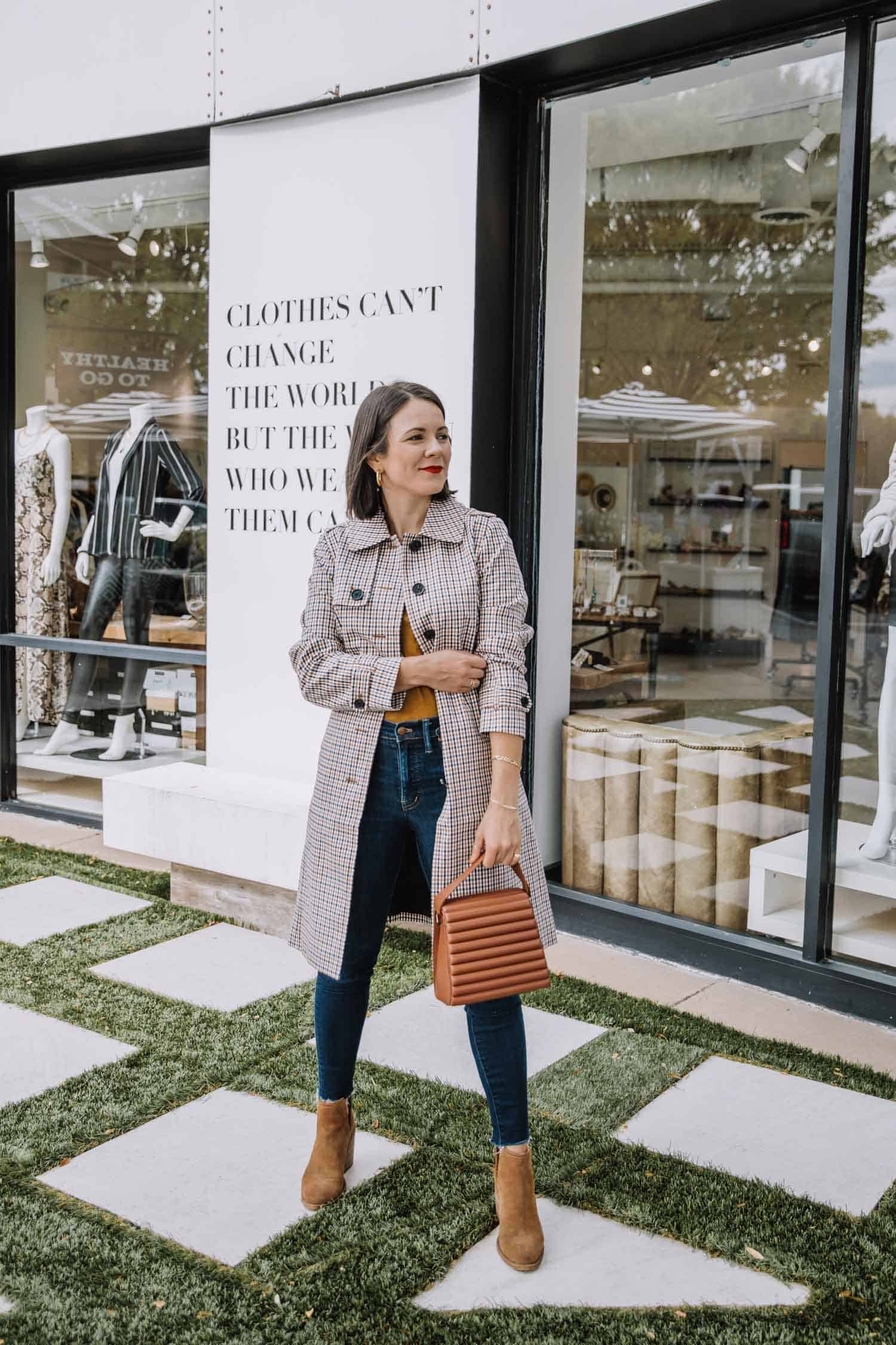 casual and fashion forward fall outfit with a plaid trench coat