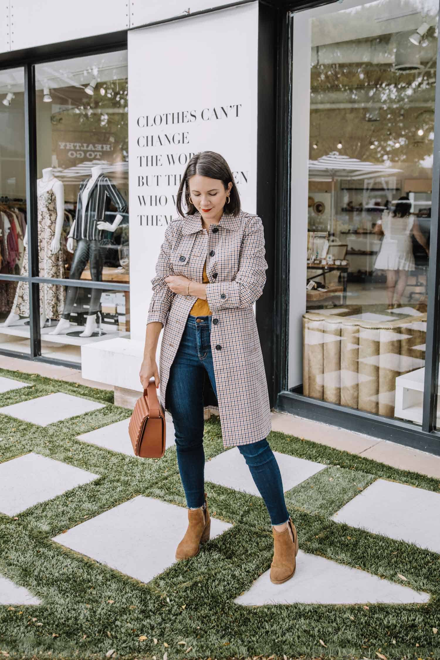 Plaid Trench Coat • Madewell Jeans • Steve Madden Booties • Vince Camuto Bag