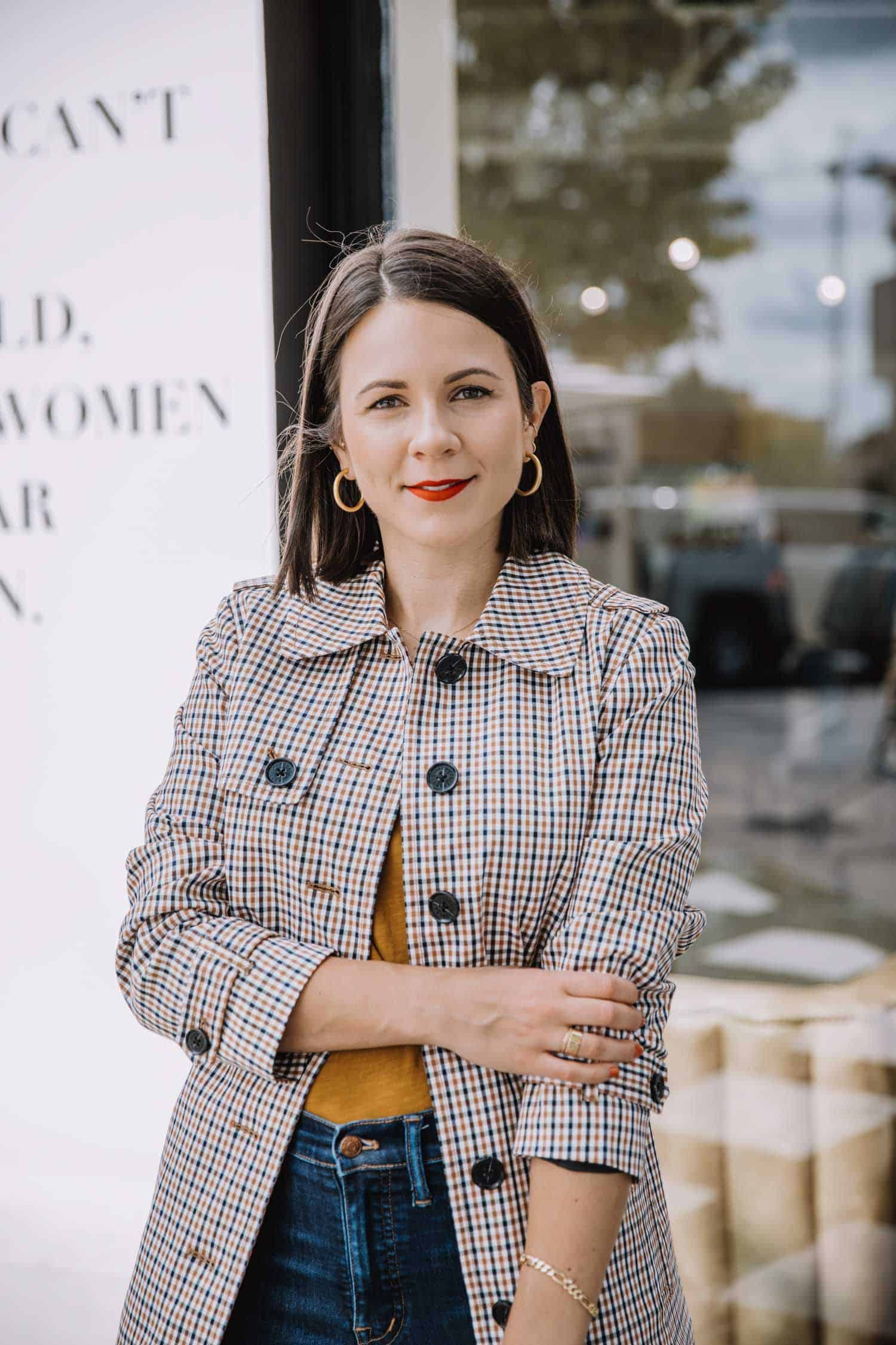 Plaid Trench Coat For Fall Fashion