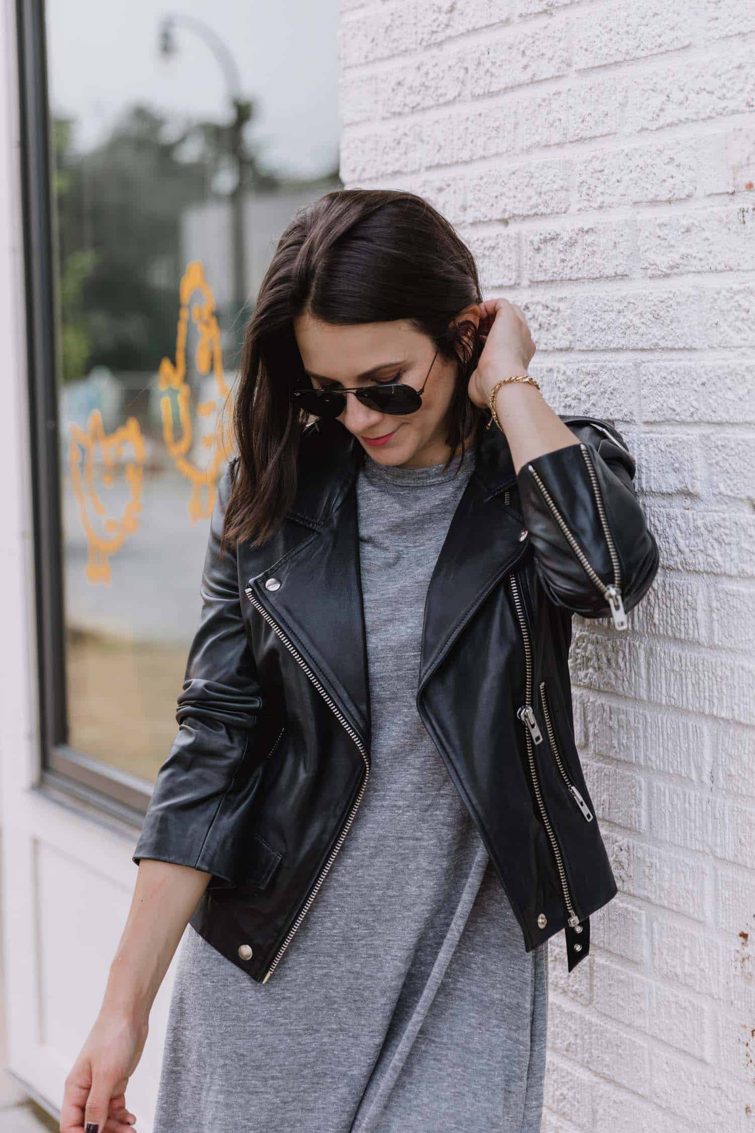 leather jacket and a grey t-shirt dress