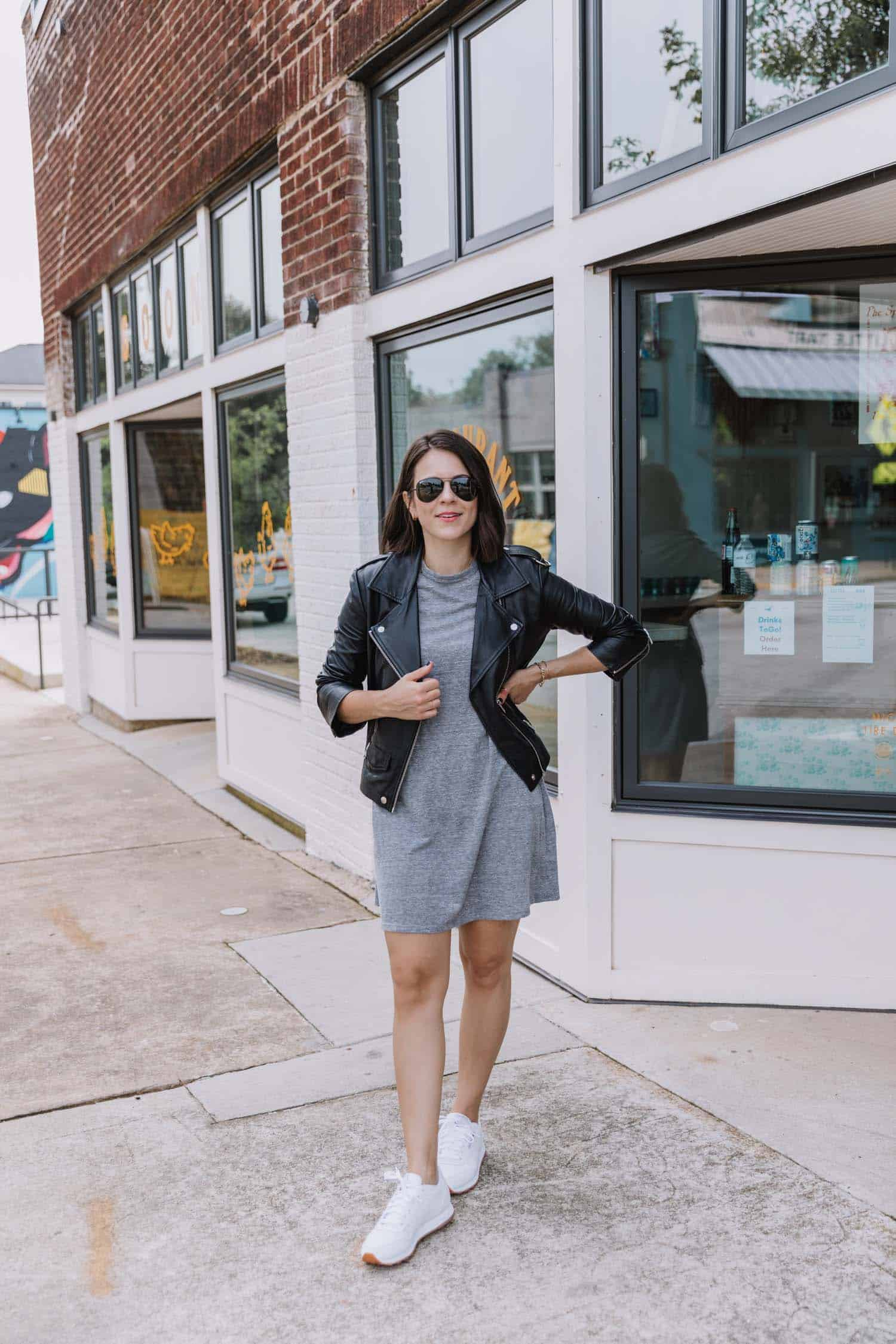 Jessica Camerata styles a t-shirt dress with a leather jacket