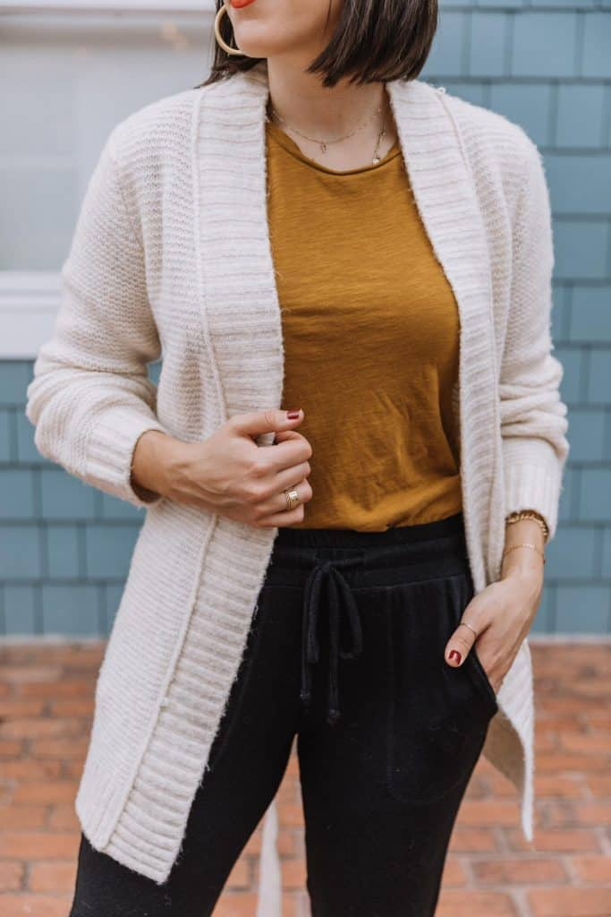 how to wear a cardigan with joggers