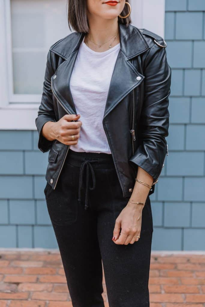 joggers with leather jacket