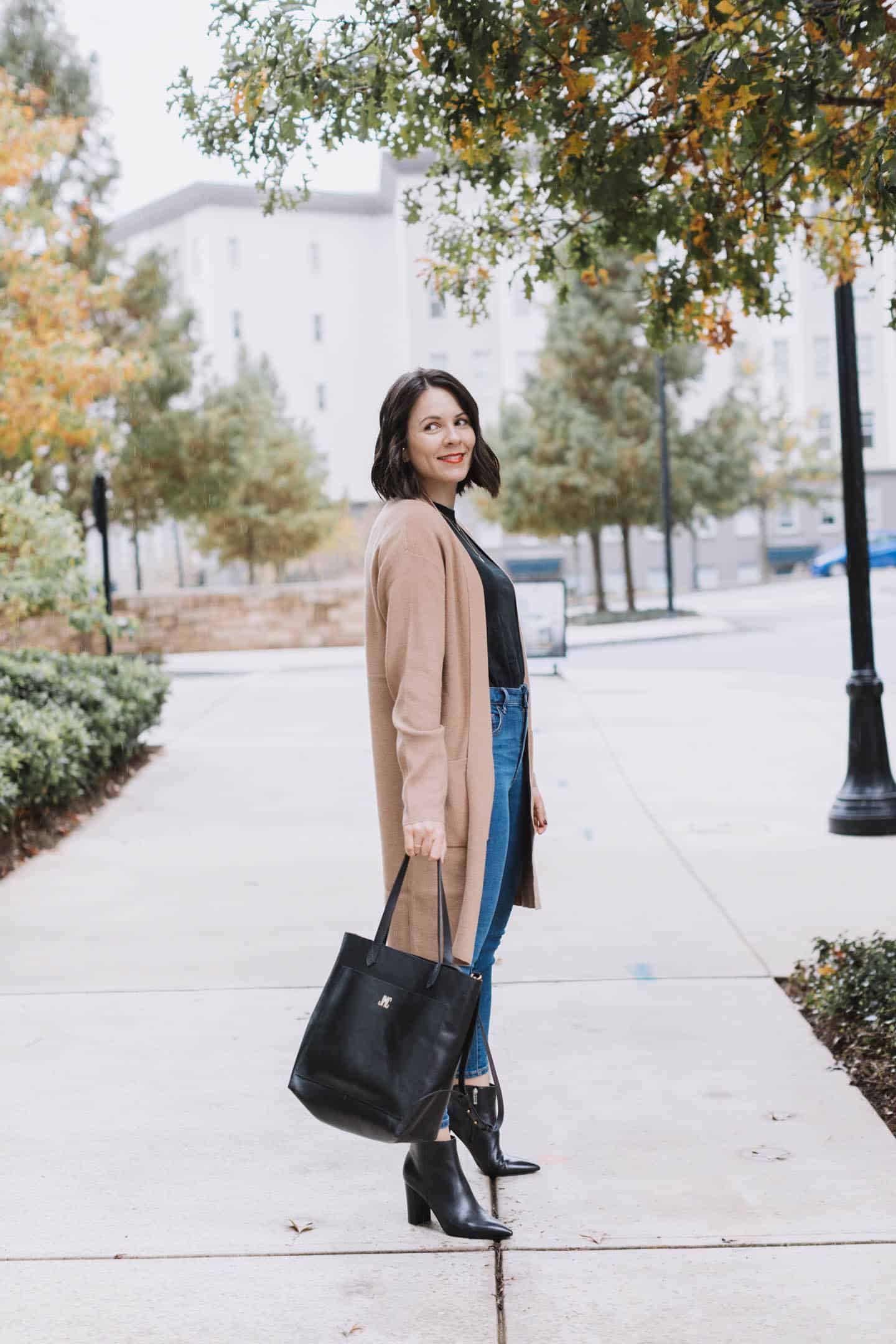classic outfit with camel cardigan and jeans