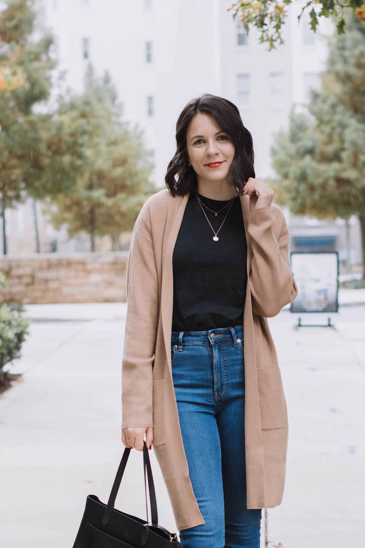 Camel cardigan from Express with black tee and jeans
