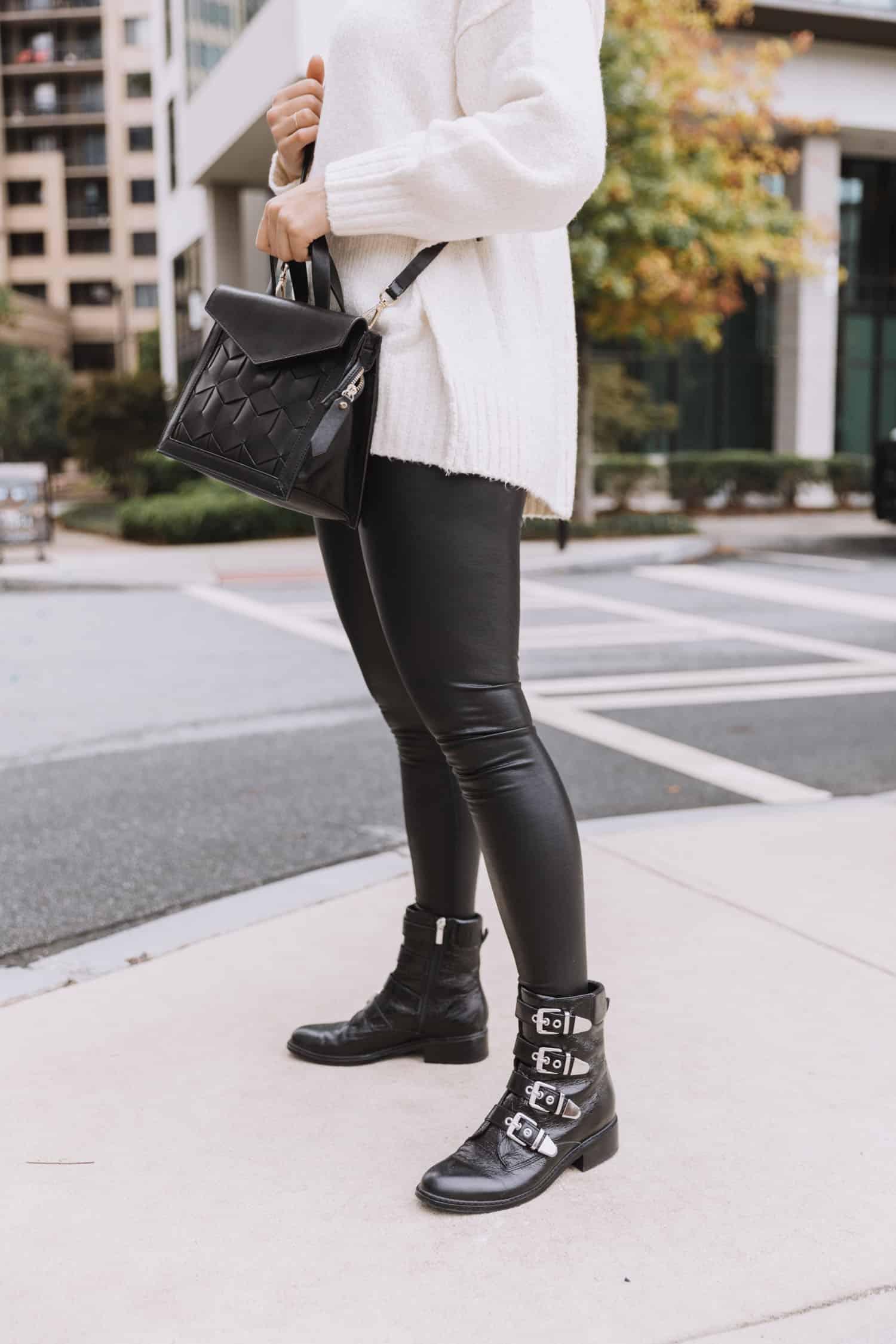 spanx vs commando faux leather leggings review