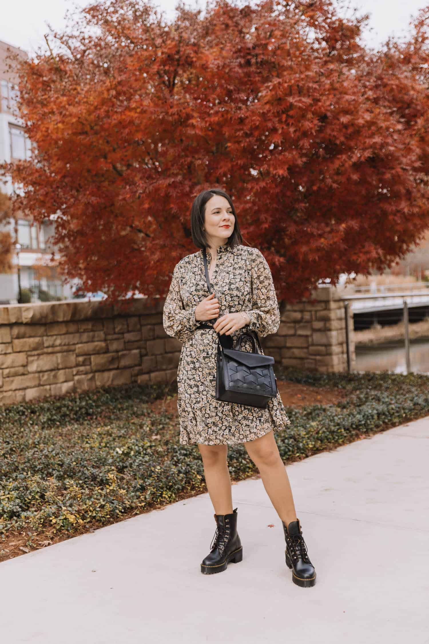 combat boots and dress outfit