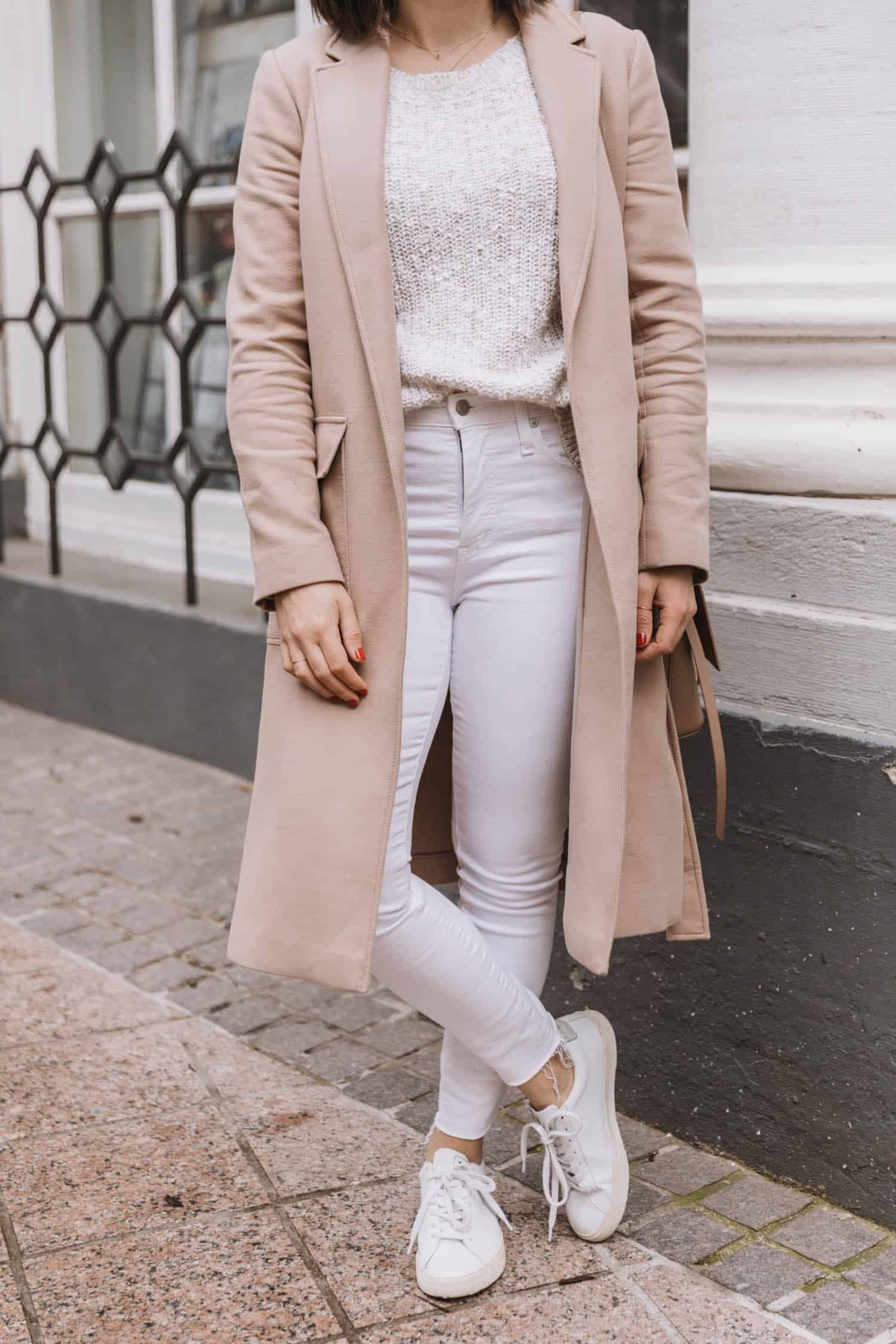 white jeans and beige outfit