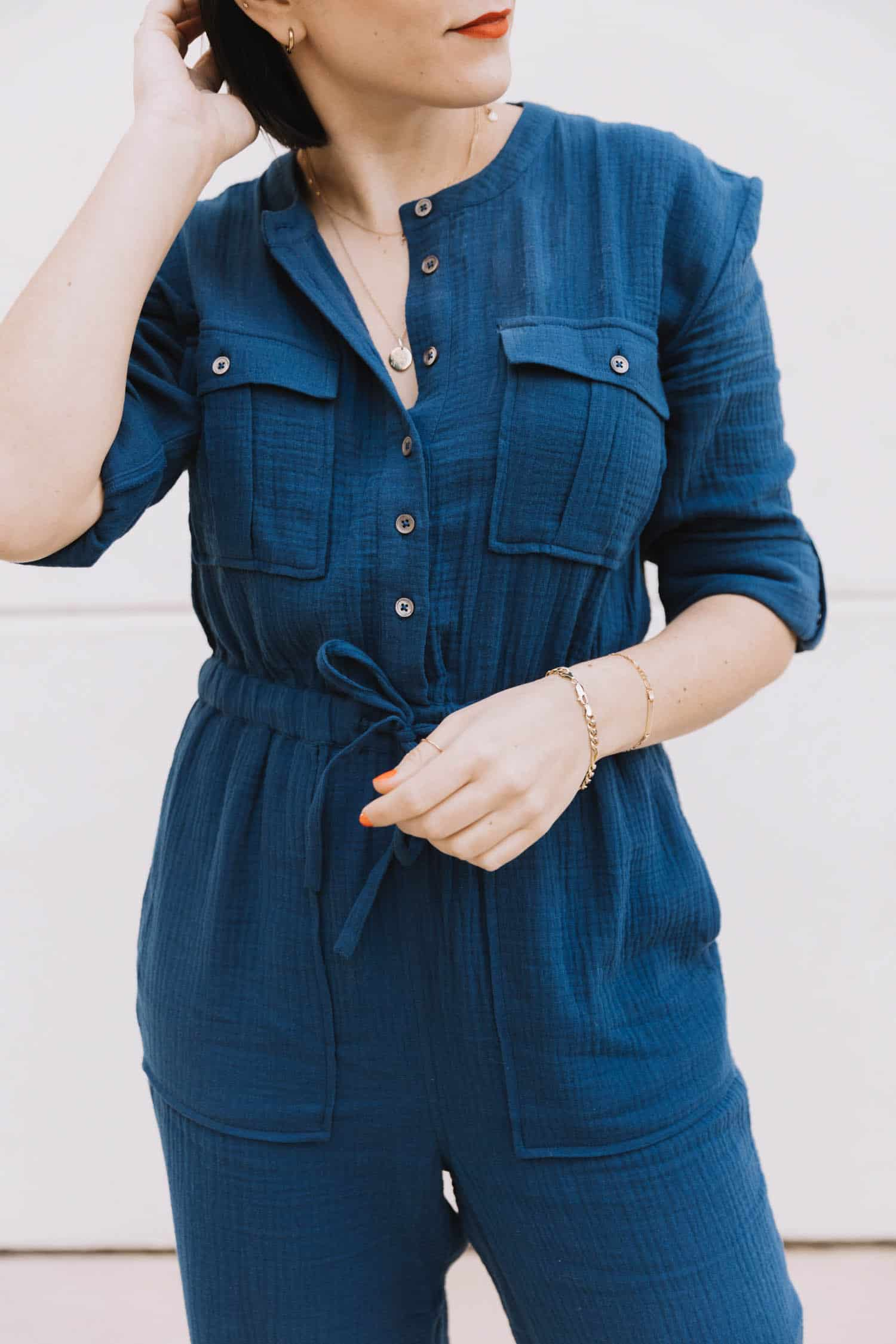madewell navy cotton jumpsuit