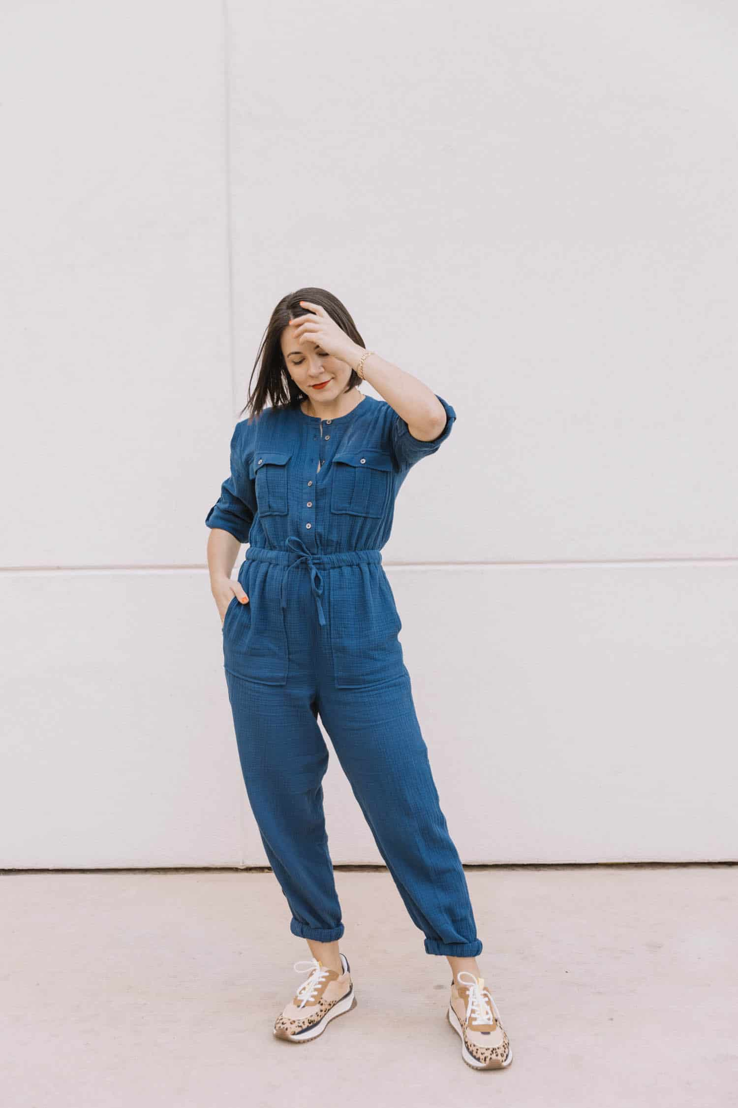 madewell navy cotton jumpsuit review