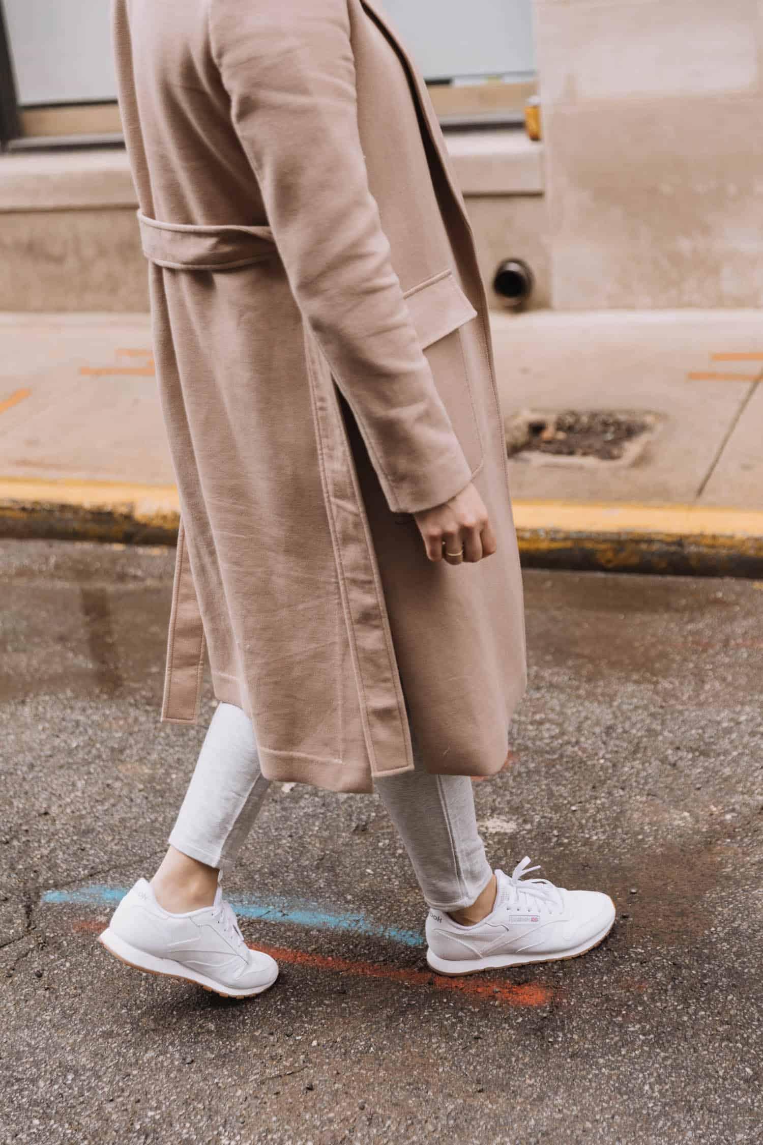 sleek trench coat | Tips To Wearing Loungewear In Public