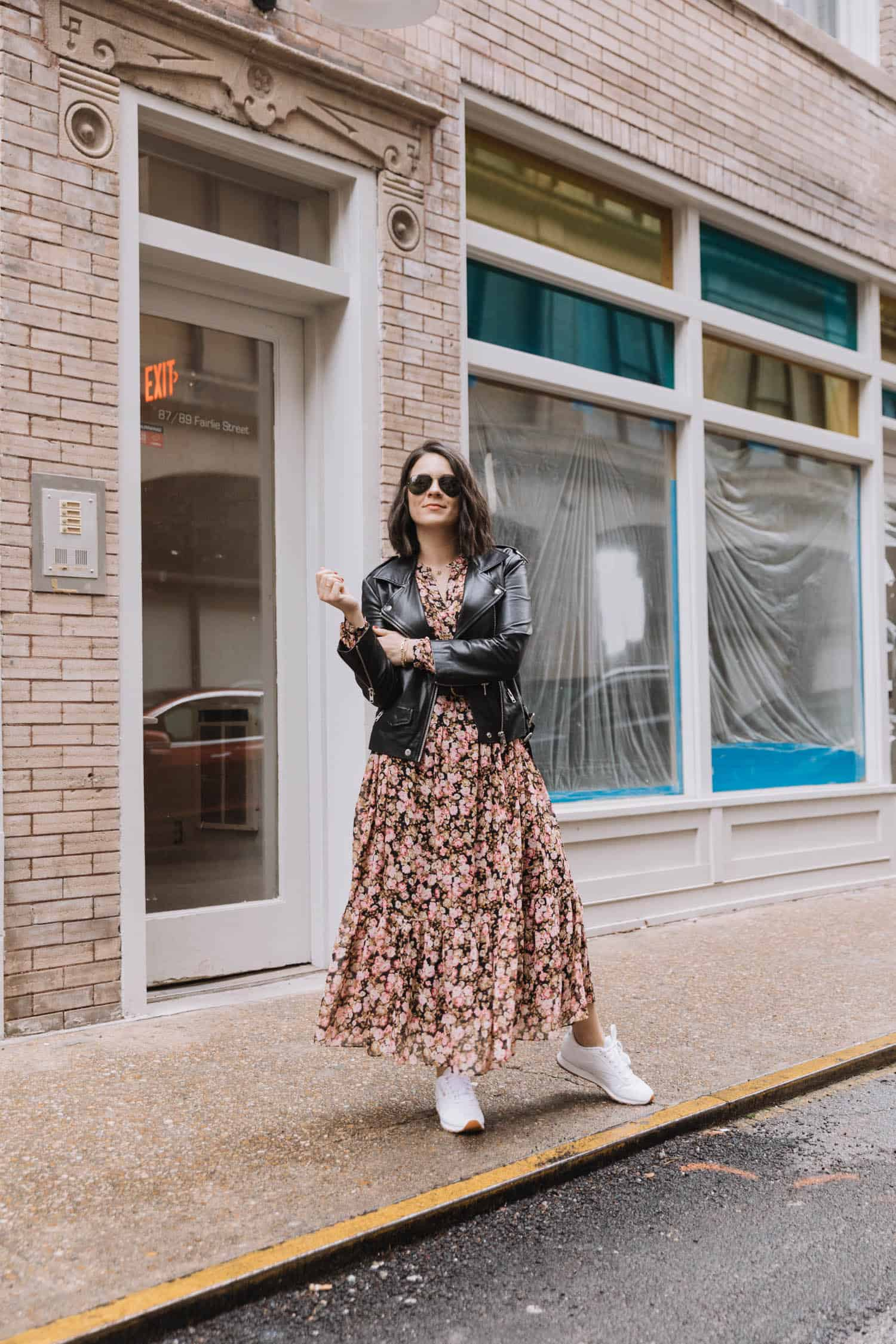 how to wear dress and leather jacket