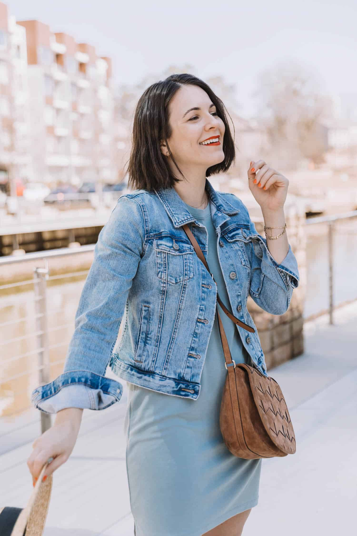 denim jacket and t-shirt dress outfit