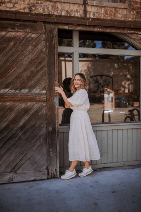 Summer Cotton Midi Dress and trainers