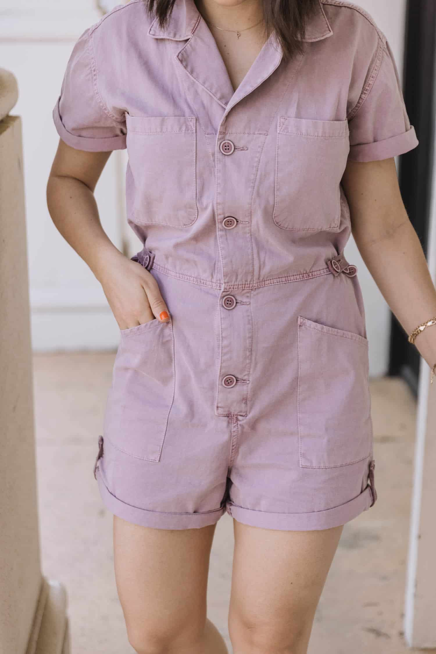 lilac romper for spring