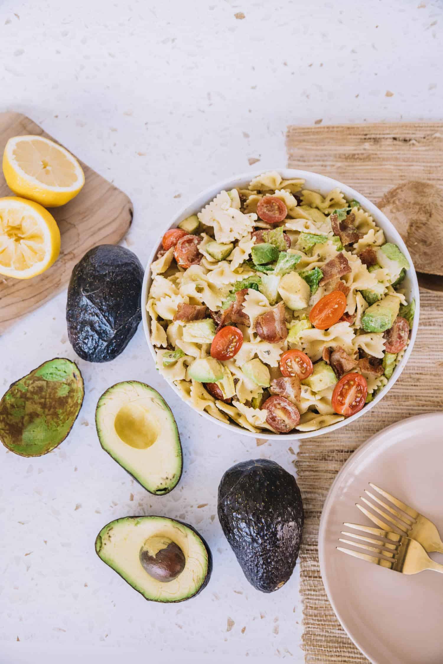 BLT Pasta Salad With Avocado recipe