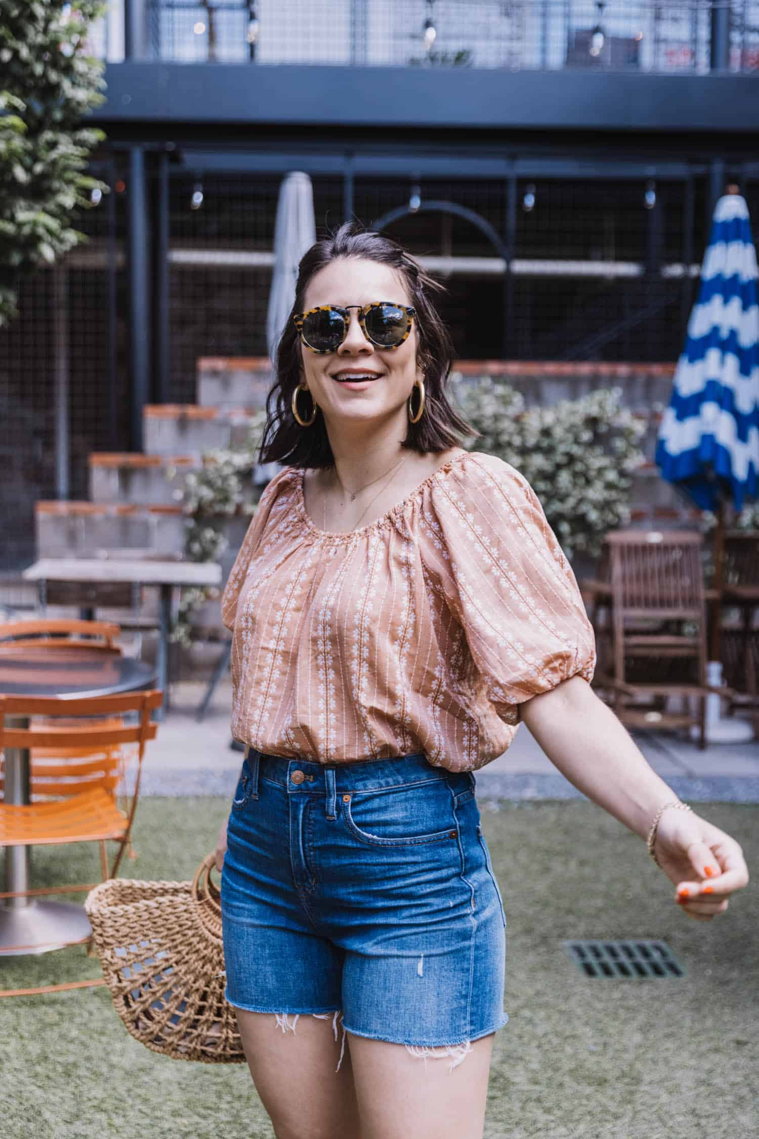 Denim Cut Offs With Pretty Blouses Outfit