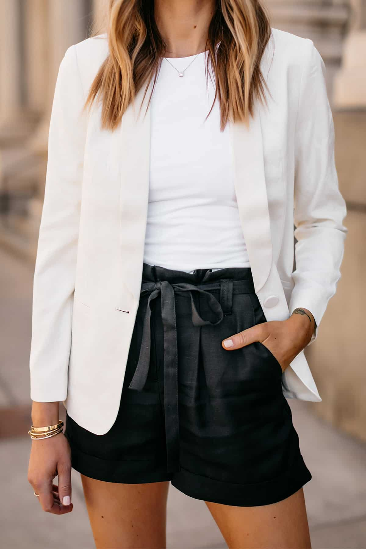 neutral blazer shorts outfit