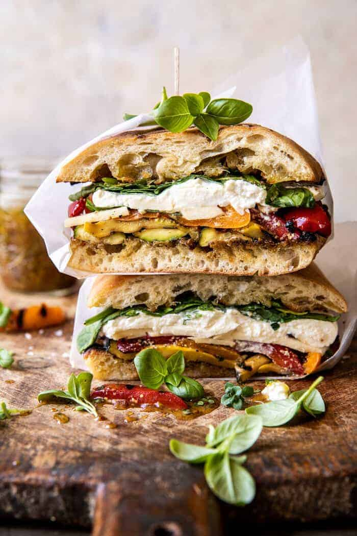 Grilled Vegetable Burrata Sandwich   easy summer recipes