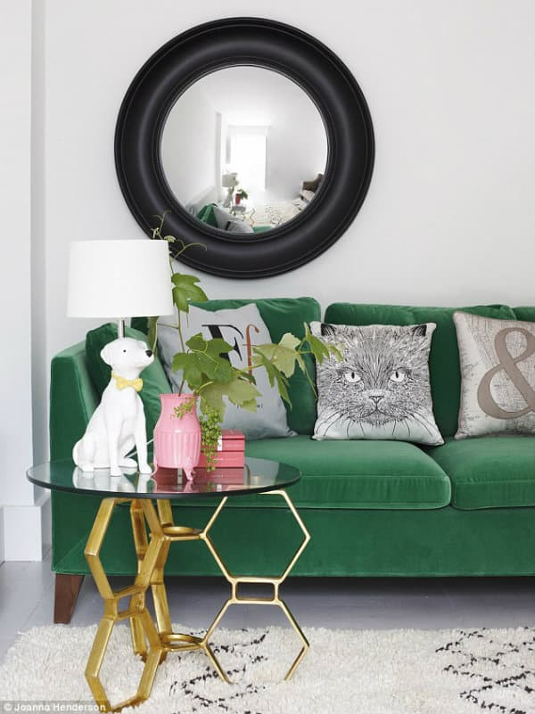 emerald green velvet couch, living room ideas