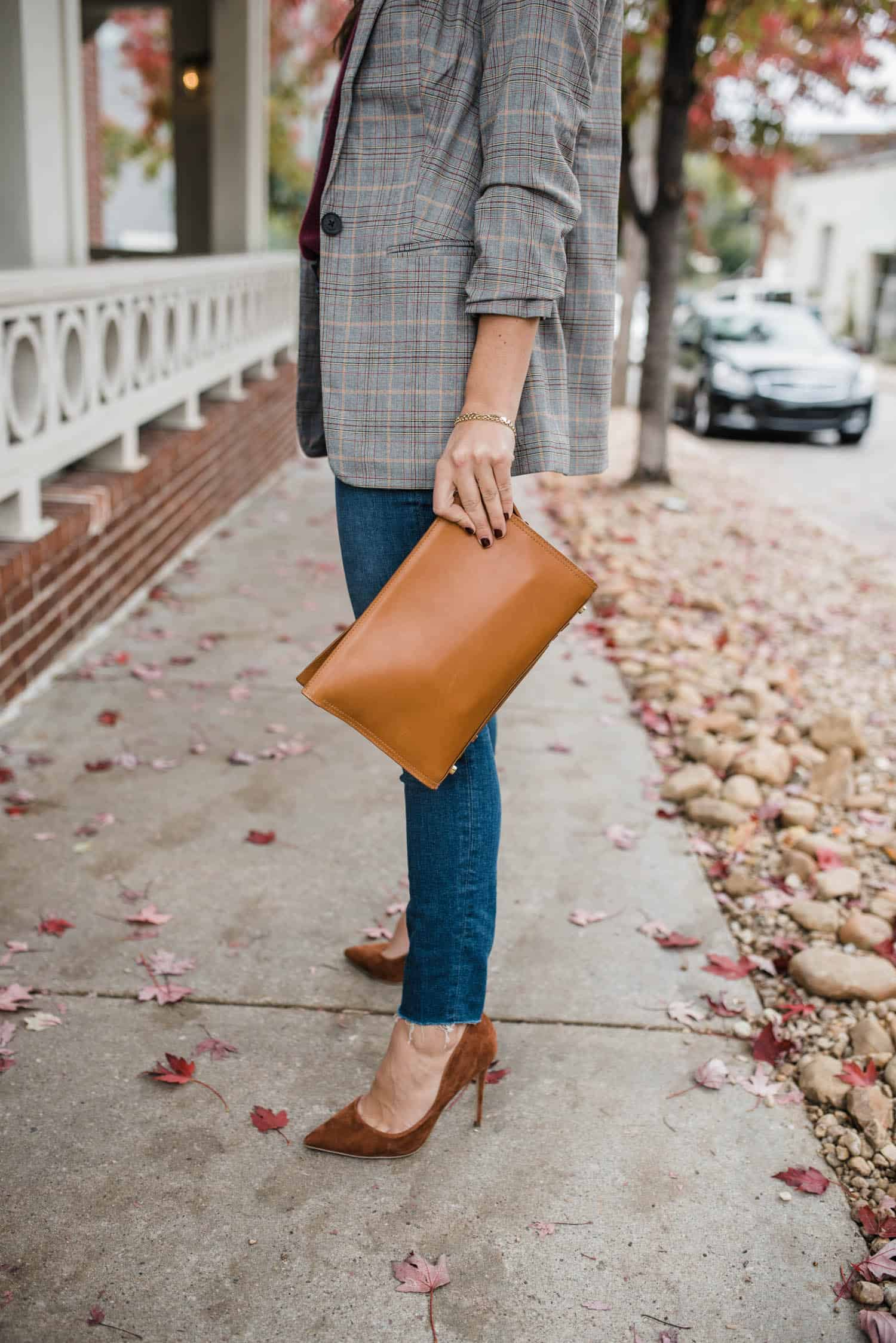 leather clutch and brown suede heels for fall