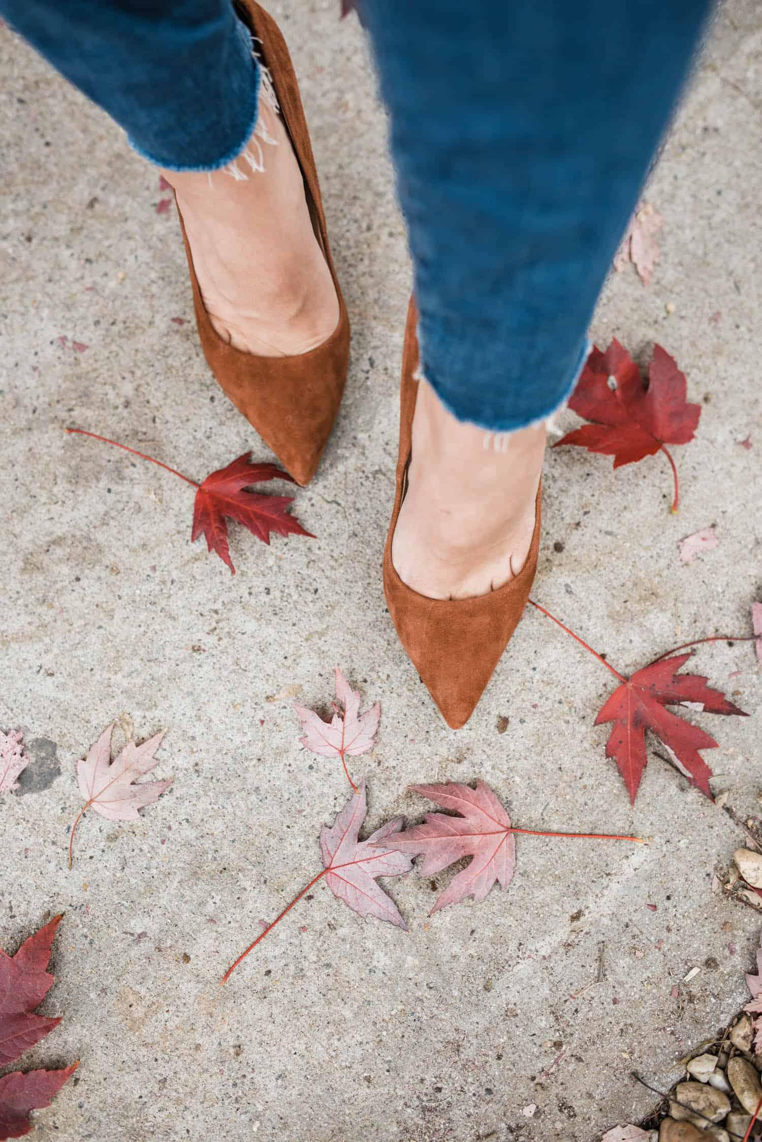 brown suede heels with fall leaves